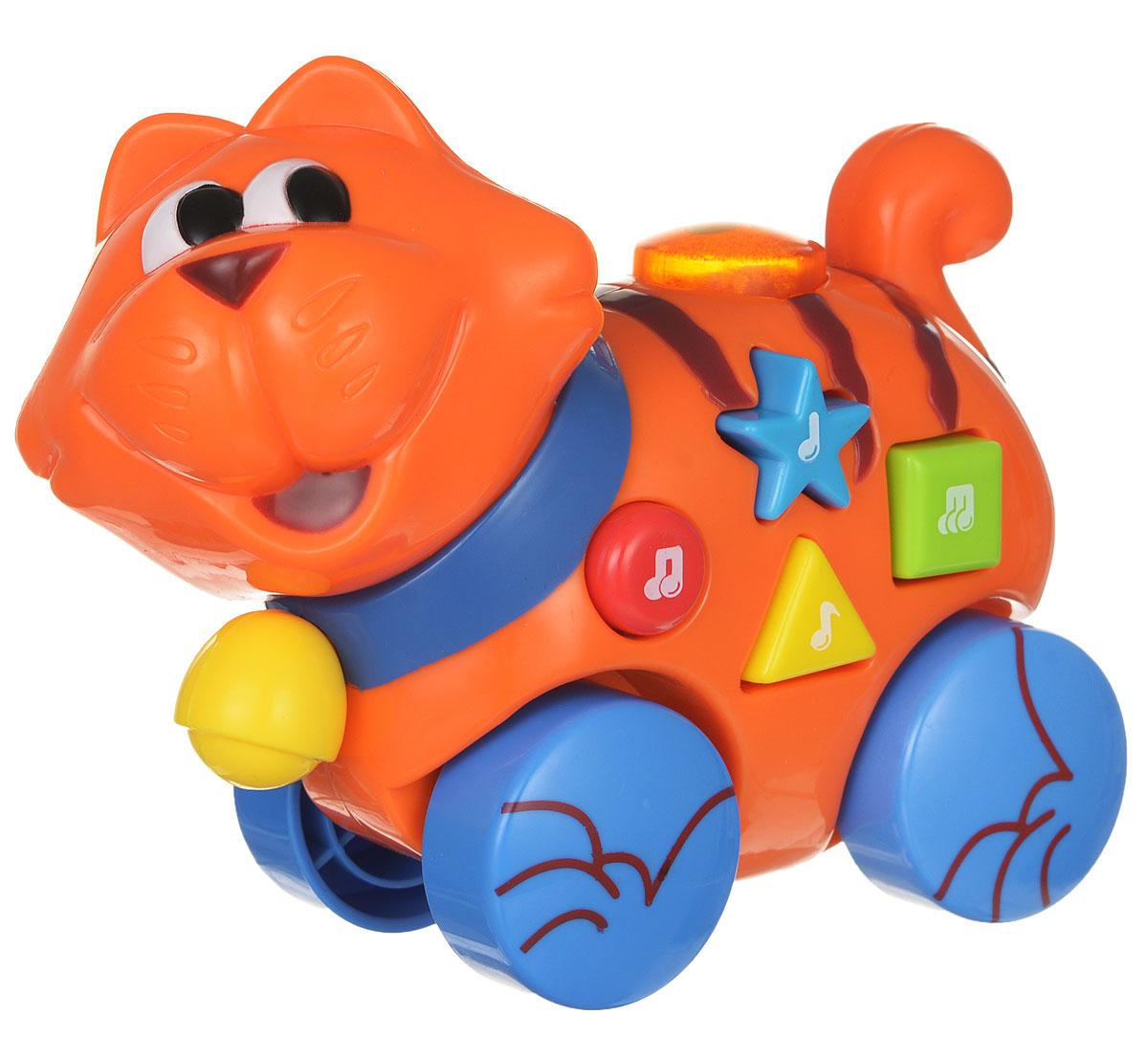 Navystar Музыкальная игрушка-каталка Кот65039-E-CМузыкальная игрушка-каталка Navystar Кот привлечет внимание вашего малыша и не оставит его равнодушным. Игрушка снабжена четырьмя колесиками со свободным ходом. Игрушка выполнена из прочного пластика в виде забавного рыжего котика. На теле кота расположены разноцветные кнопочки, при нажатии на которые, воспроизводятся разные мелодии, и мигает огонек в кнопке на спине. Игрушка воспроизводит 40 различных мелодий. Музыкальная игрушка-каталка Navystar Кот поможет малышу развить цветовое и звуковое восприятие, координацию движений и мышление. Для работы игрушки необходимы 3 батарейки типа AG13 (LR44) напряжением 1,5V (комплектуется демонстрационными).