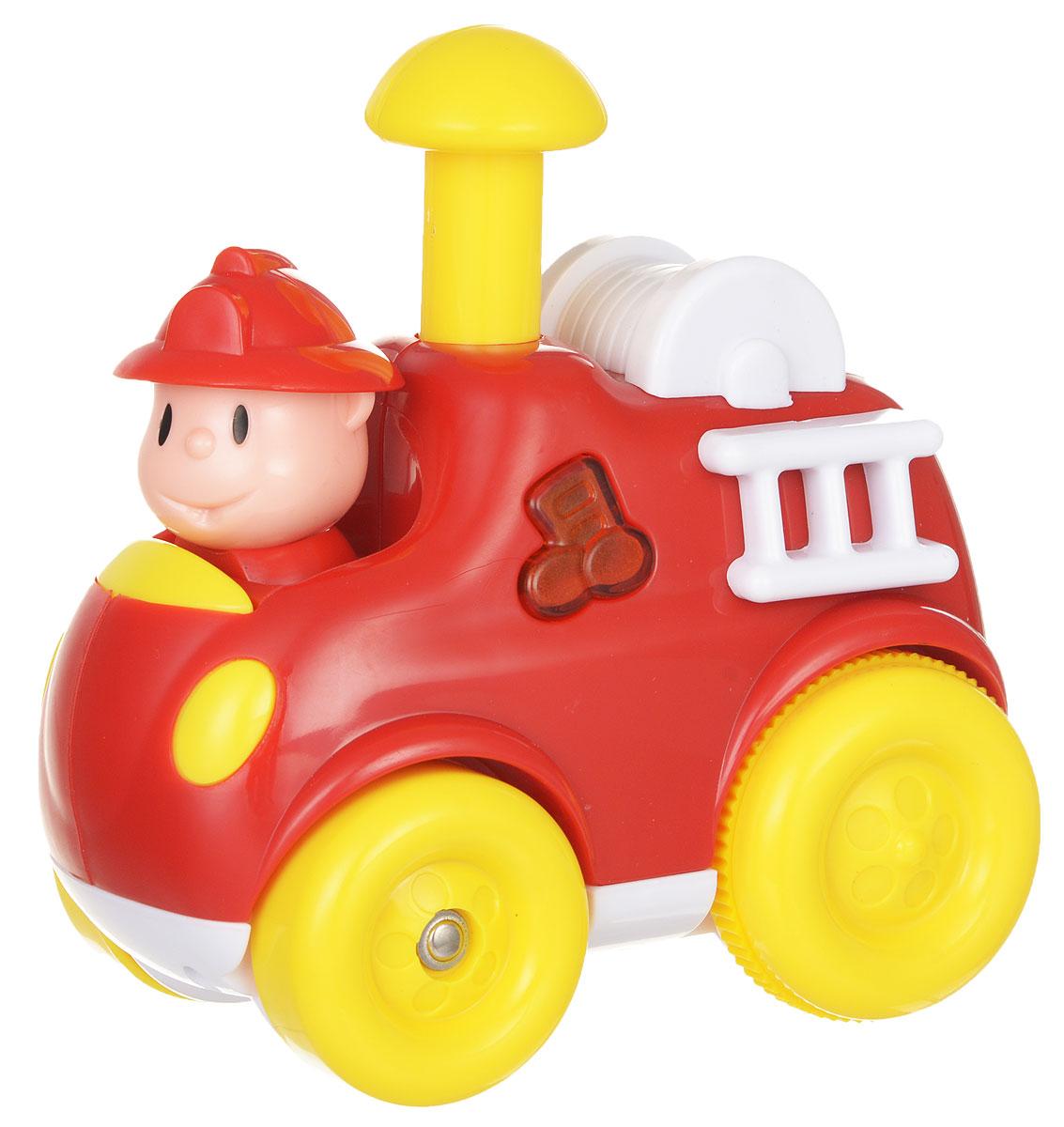 Navystar Пожарная машинка инерционная цвет красный68071-T-FЯркая пожарная машинка привлечет внимание вашего малыша и не позволит ему скучать! Выполненная из безопасного пластика с элементами из металла, игрушка представляет собой забавную машинку с водителем-пожарным. Округлые, без острых углов, формы гарантируют безопасность даже самым маленьким. Игрушка оснащена инерционным механизмом. Для запуска установите игрушку на поверхность, нажмите на желтую кнопку вверху машинки, и она поедет вперед. При нажатии на боковую кнопку с нотами, появляются световые и звуковые эффекты. Машинка может проигрывать 20 разных мелодий. Игрушка поможет ребенку в развитии воображения, мелкой моторики рук и цветового восприятия. Сделайте вашему малышу такой замечательный подарок! Для работы требуются 3 батарейки типа LR44 (комплектуется демонстрационными).