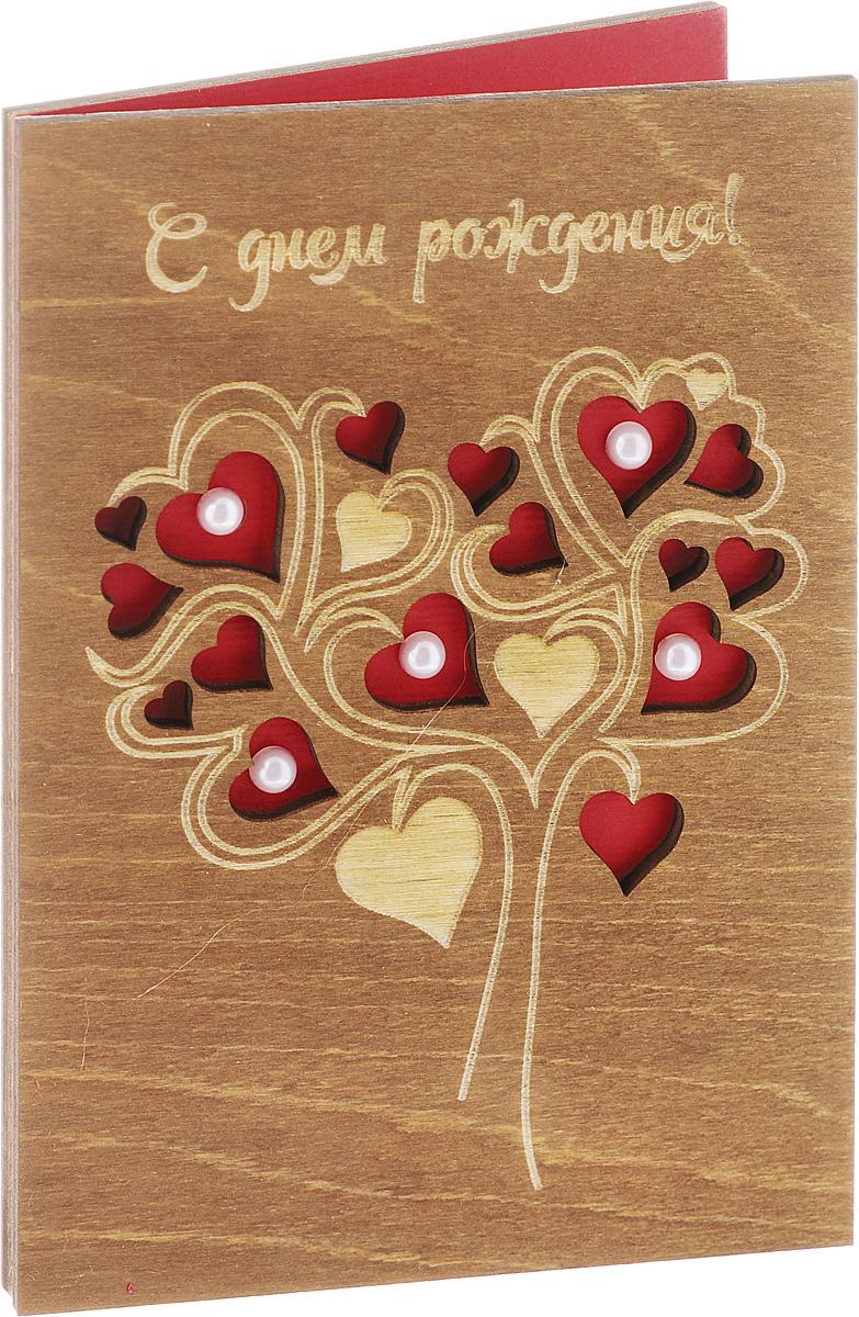 Деревянная открытка ручной работы Optcard С Днем Рождения!. АРТ 021-W_новыйАРТ 021-W_новый