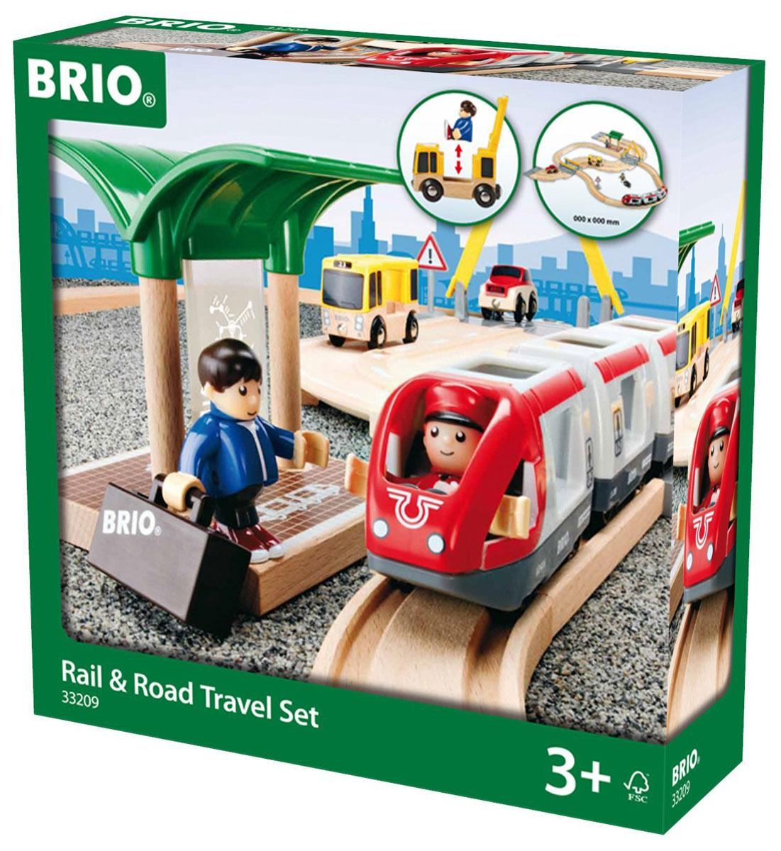 Brio Железная дорога с переездом33209С железной дорогой с переездом Brio дети не только весело, но и познавательно проведут время. Деятельность развивается на автомобильной и железной дорогах, где ребенок разыгрывает сценарий городской жизни, выступая в роли пассажиров, машиниста или водителя, осознает, что такое внимательность и осторожность. Предварительно построив дорогу из деревянных секций, обращая внимание на знак Внимание и шлагбаум, дети смогут перемещать автобус, легковой автомобиль и пассажирский поезд. В состав железной дороги входят железнодорожное полотно, пассажирский поезд, состоящий из трех вагонов, пассажирская станция, пассажиры с багажом и машинист поезда, полотно автомобильной дороги, два переезда, автобус и легковой автомобиль. Автомобильная дорога оканчивается съездами, позволяющими машинкам съезжать с ее полотна и ездить по полу. Машиниста пассажирского поезда можно посадить в головные вагоны поезда или присоединить его к пассажирам и сажать в автобус. У фигурок человечков сгибаются...