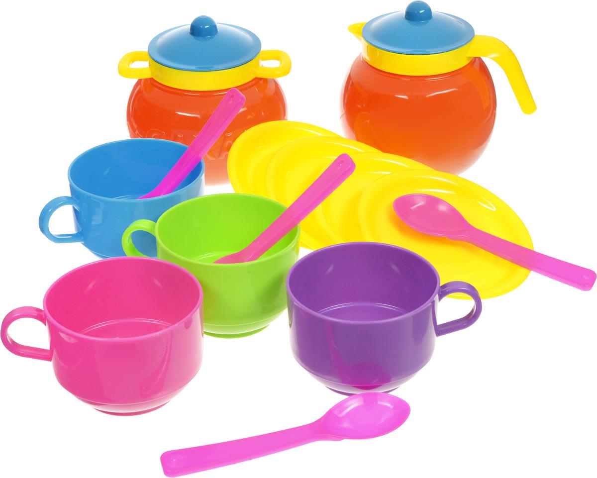 Stellar Игрушечный набор посуды Чайный 14 предметов06003Набор посуды Чайный, изготовленный из пластика ярких цветов, непременно привлечет внимание вашей малышки и не позволит ей скучать. В набор вошли: чайник и сахарница с крышками, 4 блюдца, 4 чашки, 4 ложки. Во время игры любая девочка старается подражать маме. Набор посуды поможет создать игровую среду, в которой она сможет почувствовать себя хозяйкой. Размер предметов позволяет пригласить к столу, как любимую куклу, так и свою подружку. Набор упакован в сумочку из прозрачного пластика. Порадуйте свою малышку этим замечательным набором! С таким набором ваша маленькая хозяйка сможет угостить чаем все свои игрушки!