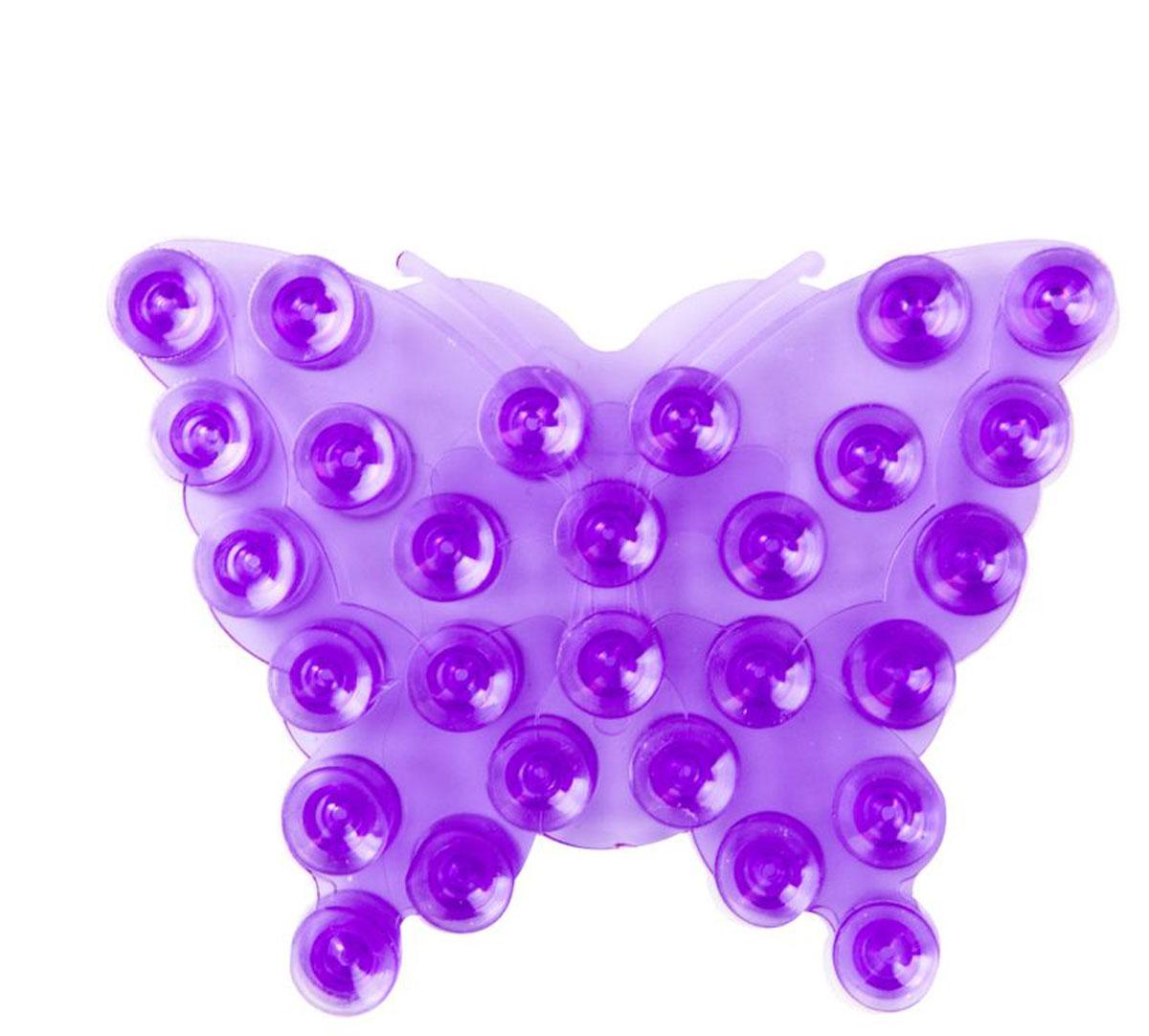 Valiant Полка-липучка для ванной Бабочка на присосках цвет фиолетовый