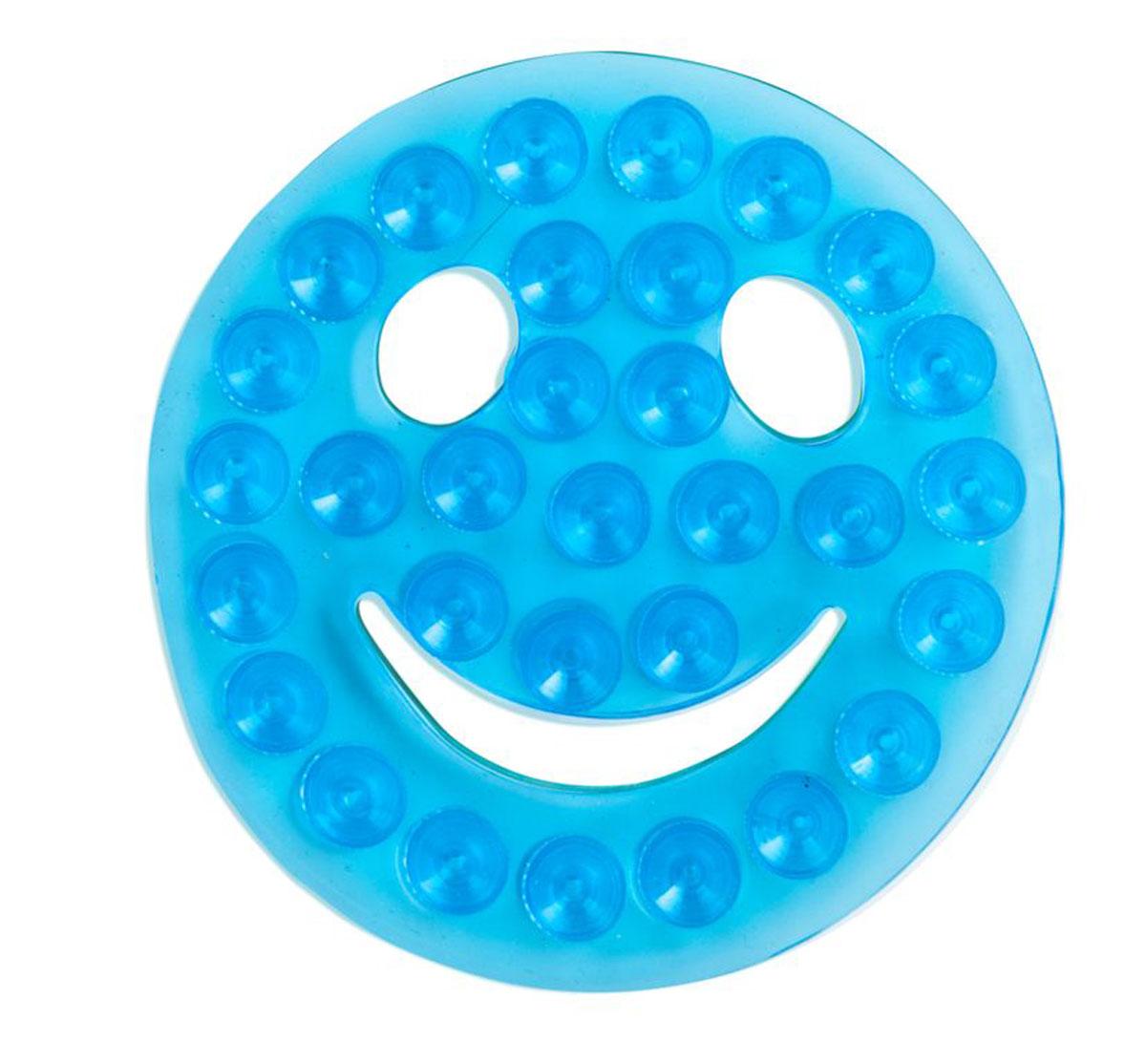 Valiant Полка-липучка для ванной Смайлик на присосках цвет голубой