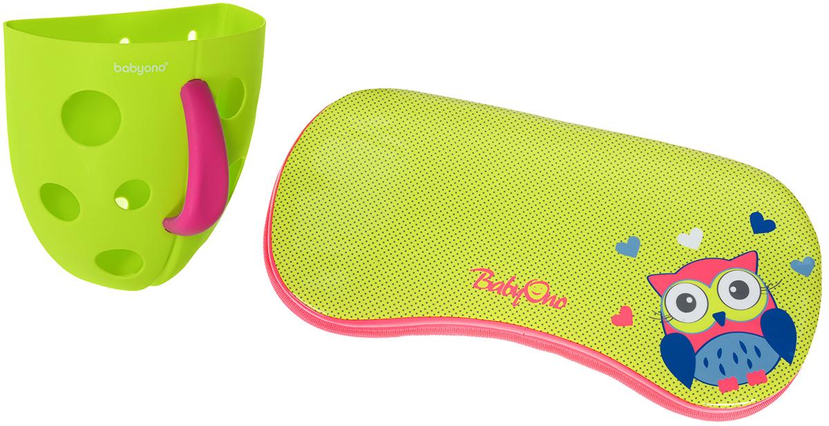 BabyOno Контейнер для игры в ванной цвет салатовый + коврик под колени262/897Контейнер для игры в ванной BabyOno - это отличный гибрид детской игрушки и изделия, полезного для родителей. Контейнер сделает купание более приятным для ребенка, обеспечивая вылавливание игрушек, переливание воды и пены. В комплект входят 2 присоски, благодаря которым контейнер можно прикрепить к стене в ванной комнате. После купания выловленные игрушки можно прополоскать и положить сушиться, благодаря отверстиям в контейнере игрушки быстрее сохнут. Не содержит бисфенол А. Коврик под колени BabyOno создает комфорт для родителей при купании ребенка. Верхний слой выполнен из водонепроницаемого материала, легкого в чистке и использовании. Подкладка снабжена противоскользящим нижним слоем, благодаря чему не перемещается. Коврик оснащен петелькой для подвешивания, после использования достаточно повесить коврик сушиться. Товар сертифицирован.