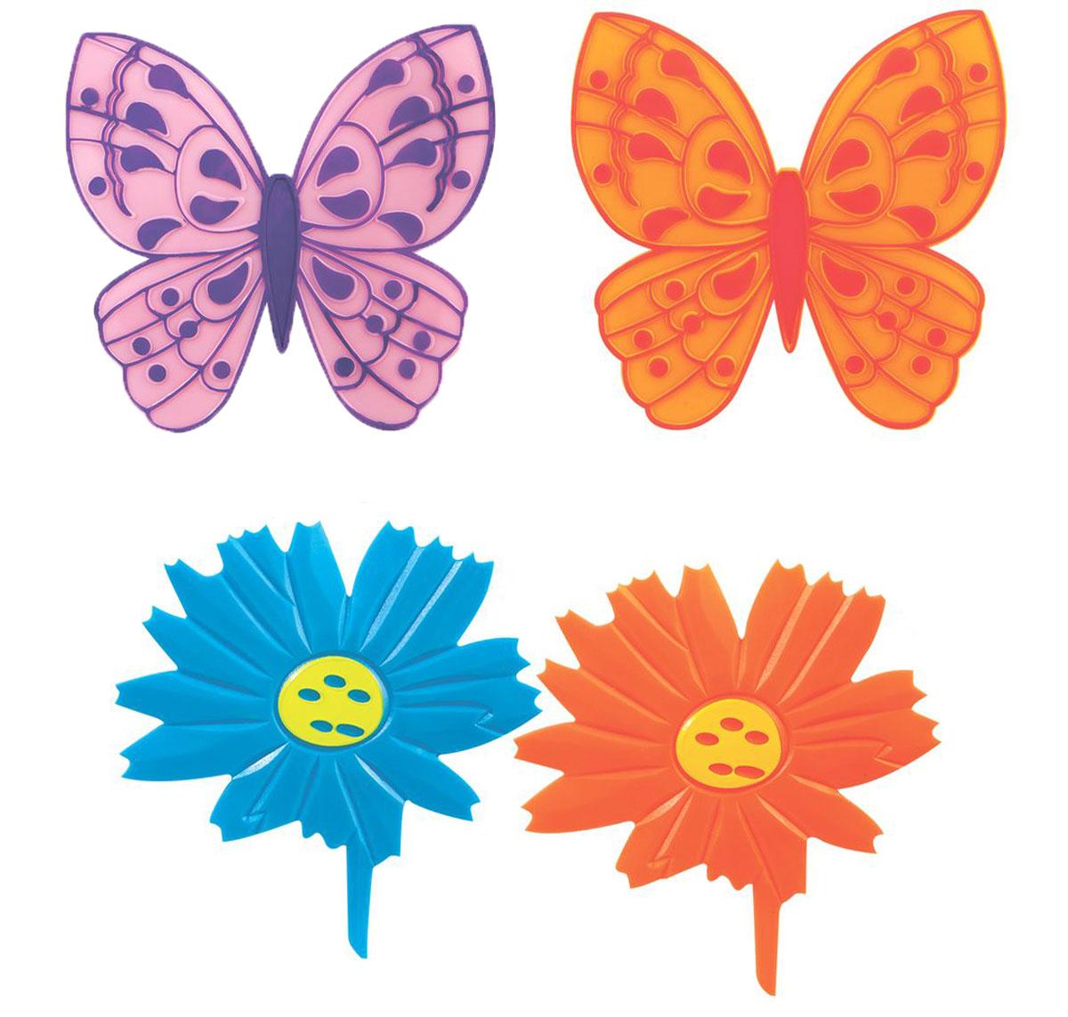 Valiant Мини-коврик для ванной комнаты Бабочки и цветочки на присосках 4 шт
