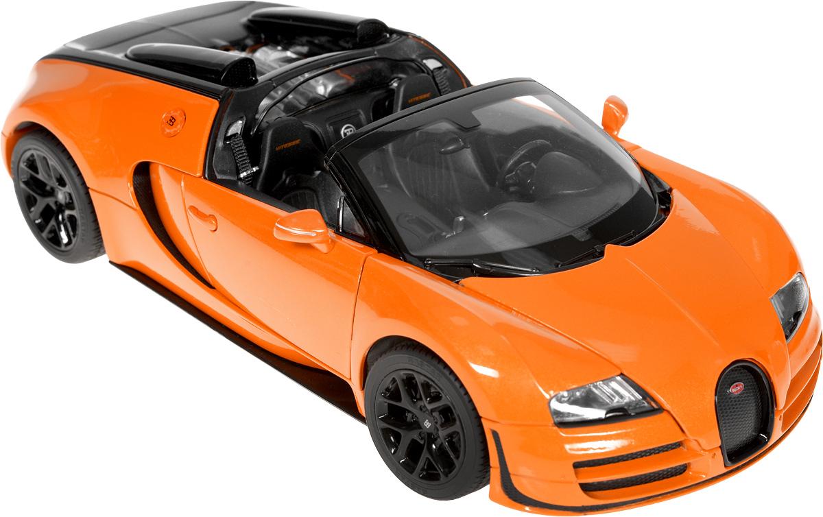 Rastar Модель автомобиля Bugatti Veyron 16.4 Grand Sport Vitesse цвет оранжевый43900_черный, оранжевыйМодель автомобиля Rastar Bugatti Veyron 16.4 Grand Sport Vitesse привлечет внимание, как ребенка, так и взрослого коллекционера. Машина является точной уменьшенной копией настоящего автомобиля в масштабе 1:18. Модель выполнена из металла с использованием пластика и оснащена резиновыми колесами, обеспечивающими хорошее сцепление с любой поверхностью пола. Колеса и руль вращаются, дверцы и капот открываются. Модель автомобиля Rastar Bugatti Veyron 16.4 Grand Sport Vitesse станет отличным подарком и украшением любой коллекции!
