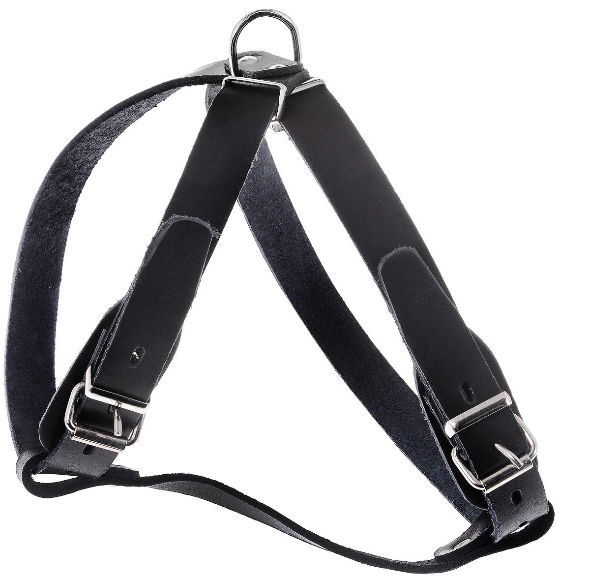 Шлейка для собак Каскад Классика, цвет: черный, ширина 2 см, обхват груди 51-59 см01002011чШлейка Каскад Классика, изготовленная из и натуральной кожи, подходит для собак мелких пород. Крепкие металлические элементы делают ее надежной и долговечной. Шлейка - это альтернатива ошейнику. Правильно подобранная шлейка не стесняет движения питомца, не натирает кожу, поэтому животное чувствует себя в ней уверенно и комфортно. Изделие отличается высоким качеством, удобством и универсальностью. Размер регулируется при помощи пряжек, зафиксированных в одном из 4 отверстий. Обхват шеи: 45-53 см. Обхват груди: 51-59 см. Ширина шлейки: 2 см.