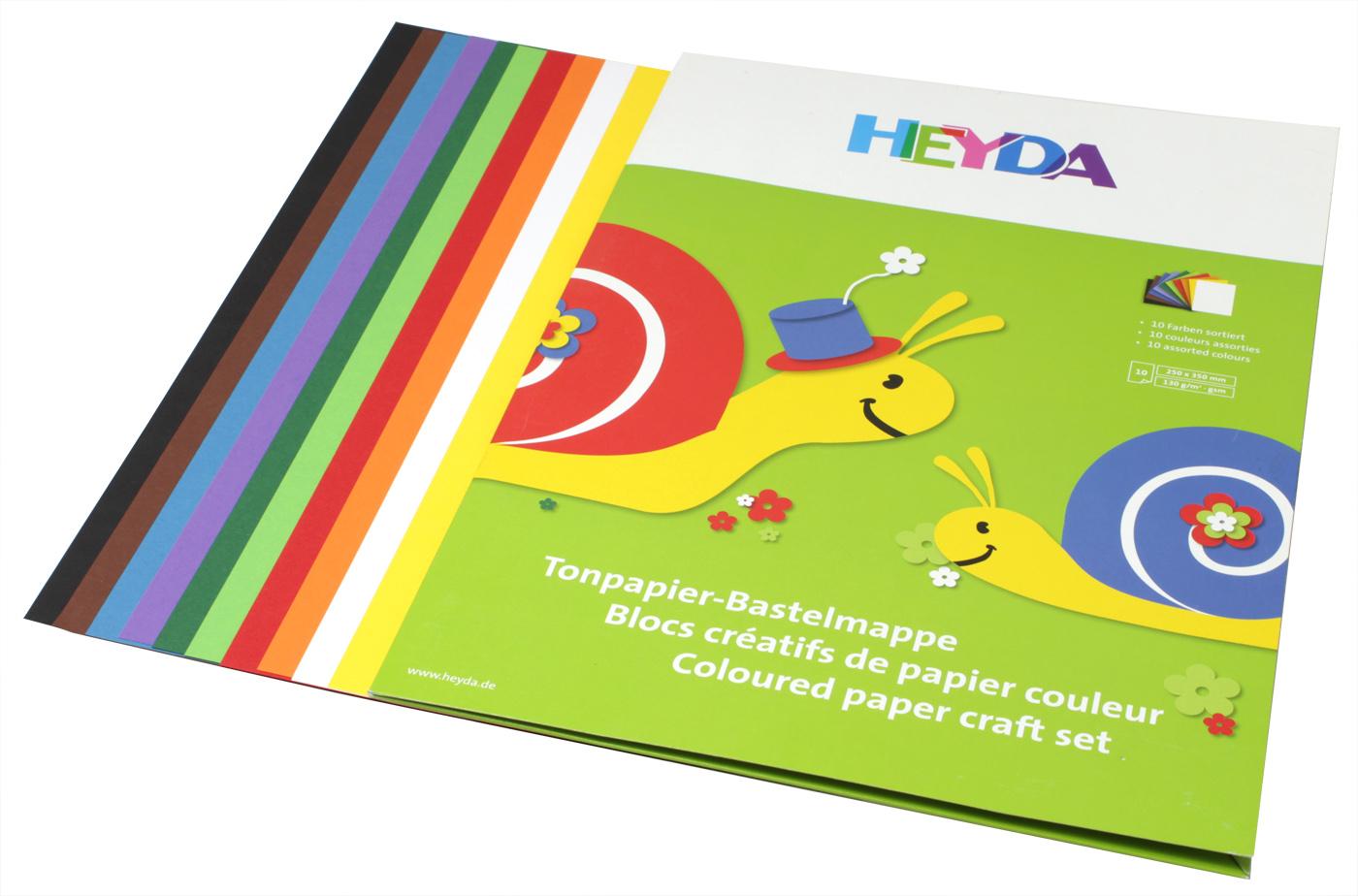 Heyda Бумага цветная 10 листов47732-06\BCD-HeydaАльбом с цветной бумагой. 10листов, 10 цветов.Размер 250х350мм