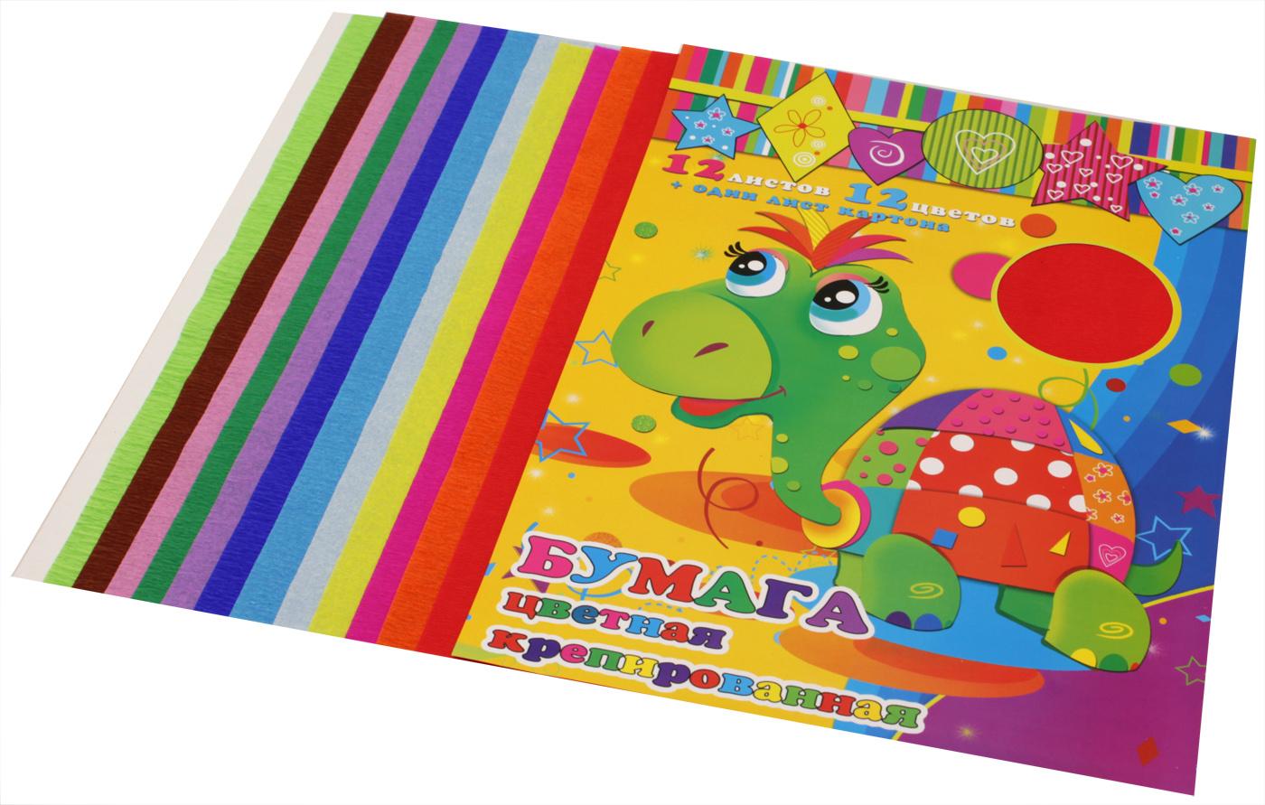 Феникс+ Бумага цветная крепированная 12 листов + 1 лист картона31376Цвета в набор: красный, белый, оранжевый, малиновый, желтый, голубой, синий, сиреневый, зеленый, салатовый, розовый, коричневый Размер: 210х297 мм В наборе 12 листов бумаги (12 цветов) + 1 лист картона