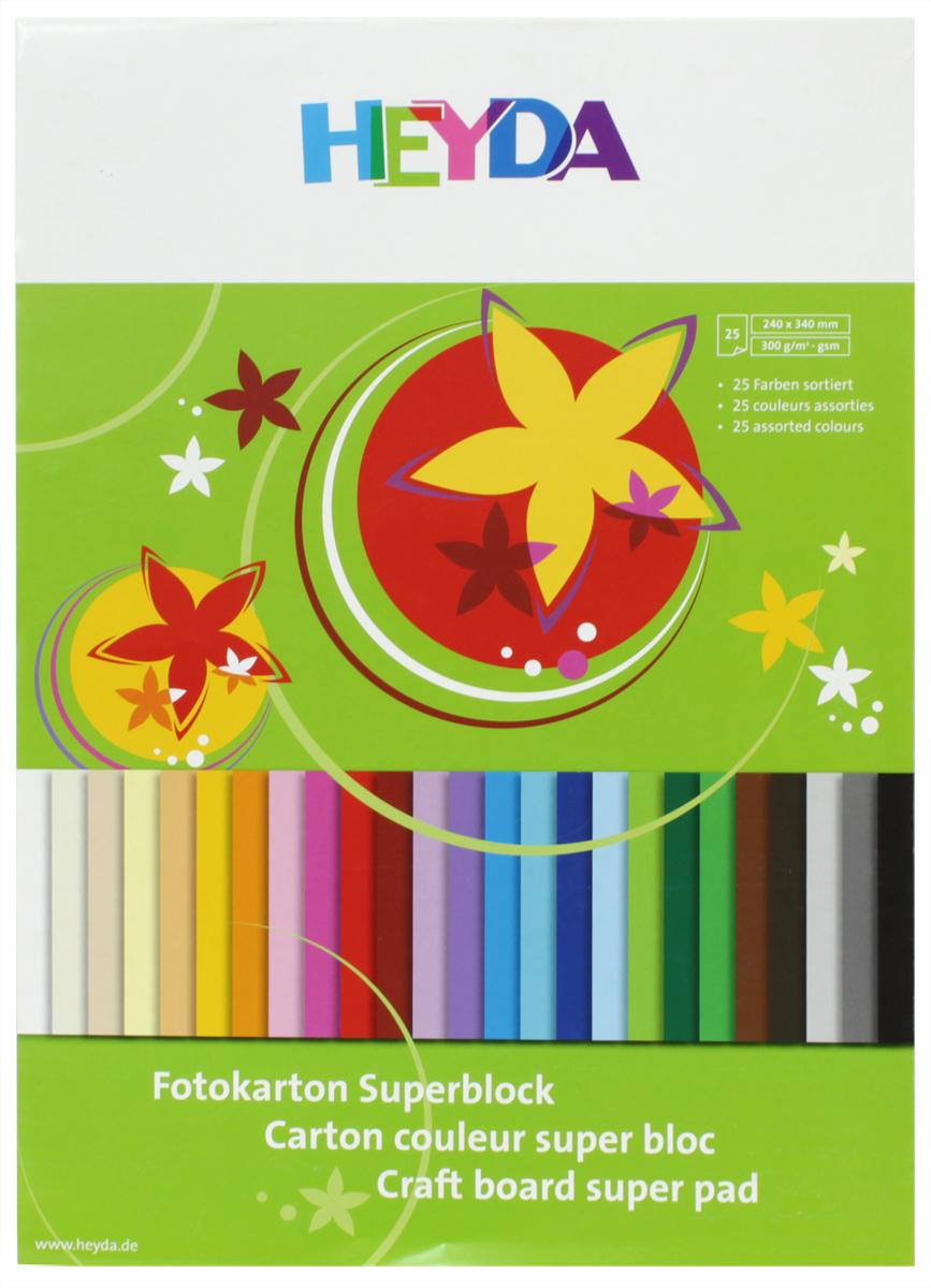 Heyda Картон для хобби и рукоделия цветной 25 листов47725-09\BCD-HeydaАльбом с цветным картоном, 25листов, 25цветов. Размер 240х340мм.