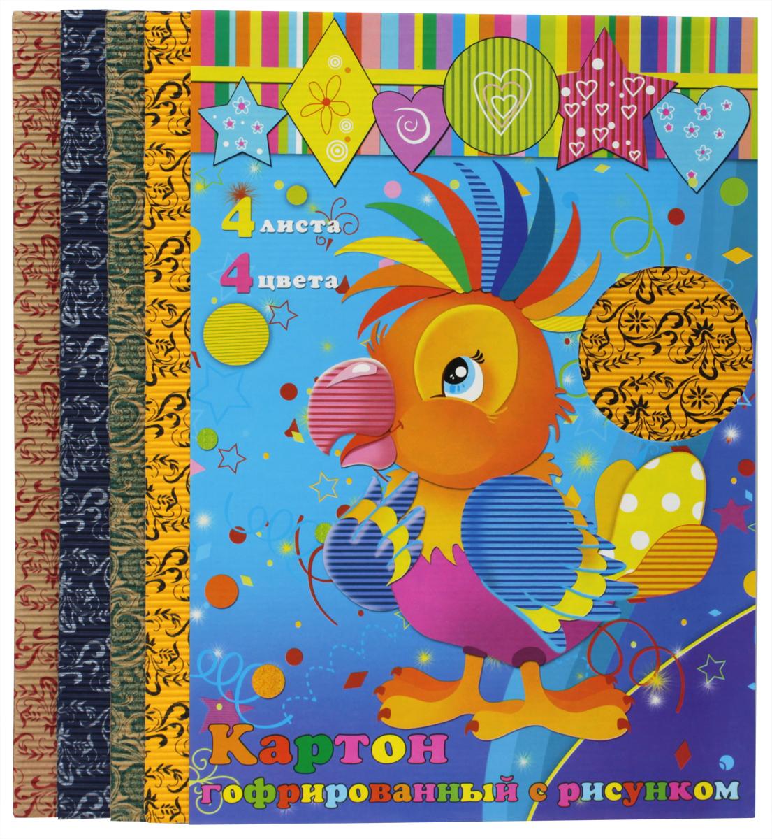 Феникс+ Гофрированный цветной картон с рисунком 4 листа28578Набор гофрированного цветного картона Феникс+ позволит создавать всевозможные аппликации и поделки. Набор включает 4 листа гофрированного двухслойного картона с рисунком. Цвета в наборе: зеленый, синий, желтый, бежевый. Гофрированный картон может использоваться для упаковки, поделок, декорирования и других видов творчества.