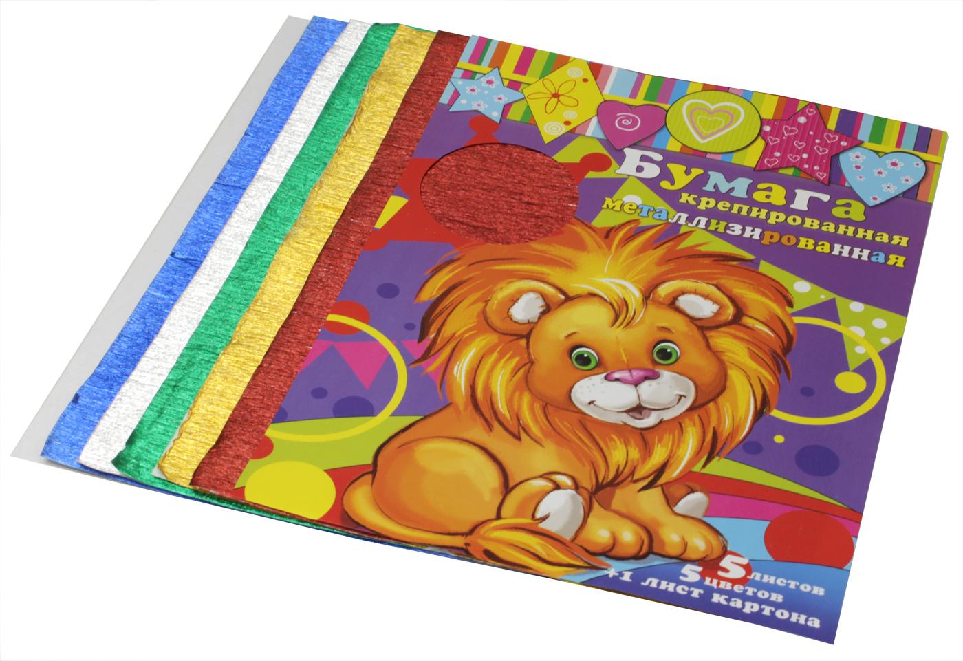 Феникс+ Бумага цветная крепированная метализированная 5 листов + 1 лист картона31379Цвета в набор: серебристый, золотой, красный, зеленый, синий. Размер: 210х297 мм В наборе 5 листов бумаги (5 цветов) + 1 лист картона