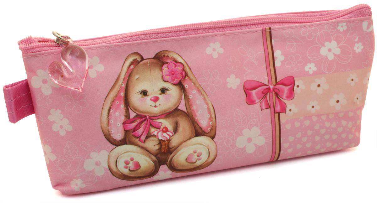 Феникс+ Пенал Зайка на розовом34744Пенал школьный. Без наполнения. Размер: 20х4х4,5 см. Материал: нейлон Предназначен для школьников 6-16 лет. Застежка-молния, фигурная собачка.