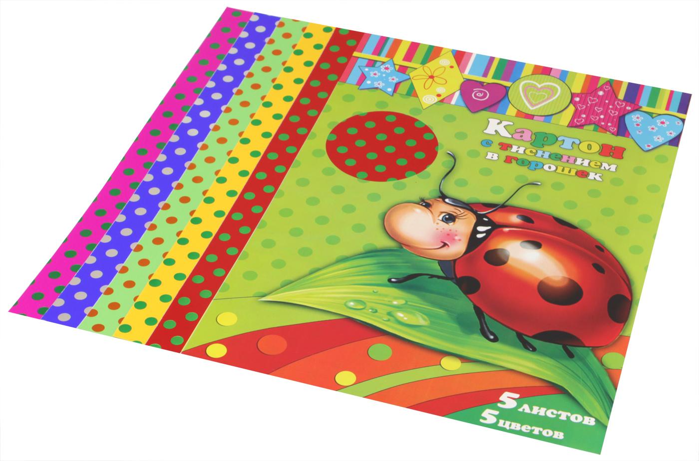 Феникс+ Картон для хобби и рукоделия цветной в горошек формат А4 5 листов34000Картон цветной с тиснением в горошек. 5 листов, 5 цветов. Красный Желтый Зеленый Синий Малиновый. Размер: 210х297 мм. Обложка - мелованная бумага. В индивидуальной ПЭТ-упаковке.