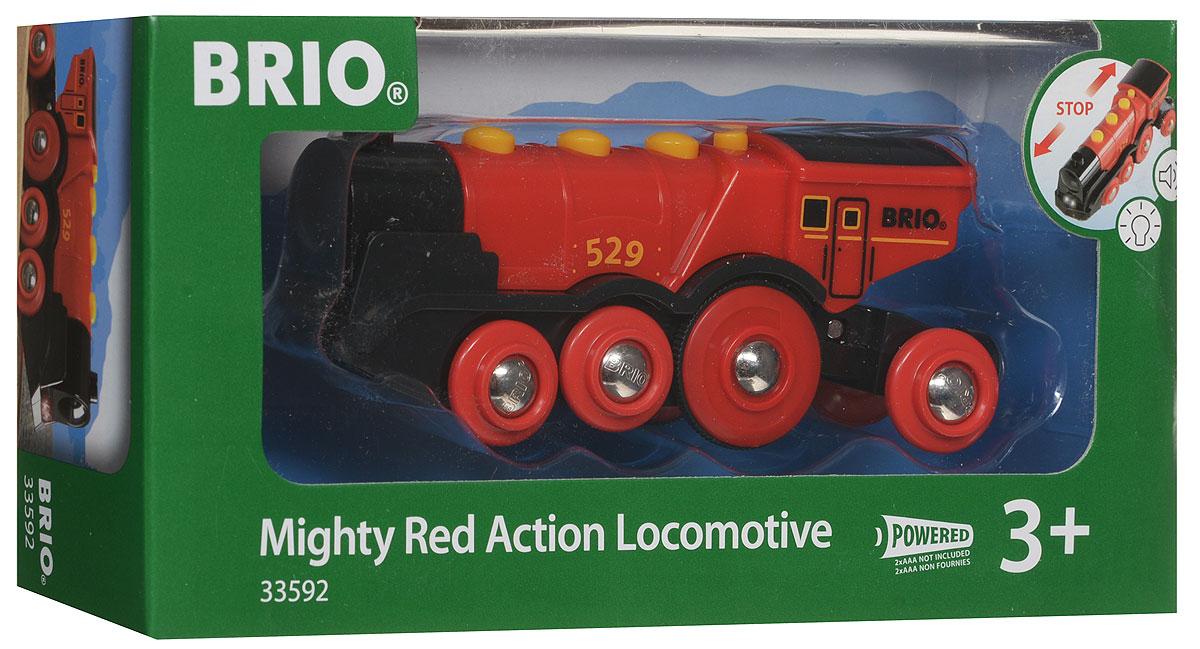 Brio Паровоз-локомотив33592Вашему ребенку обязательно пригодится в игре с железной дорогой игрушка Brio Паровоз-локомотив. Этот маленький локомотив выполнен из пластика и металла, окрашен нетоксичной краской. Имеет металлические втулки колес и магнитное соединение для вагонов. Тележка с магнитной сцепкой подвижна, обеспечивая плавность поворотов. Локомотив может самостоятельно двигаться вперед и назад. Переключение режимов движения происходит с помощью рычажка. Движение сопровождается световыми и звуковыми эффектами. Железные дороги позволяют ребенку не только получать удовольствие от игры, но и развивать пространственное воображение, мелкую моторику и координацию движений. Для работы игрушки необходимы 2 батарейки типа ААА напряжением 1,5V (не входят в комплект).