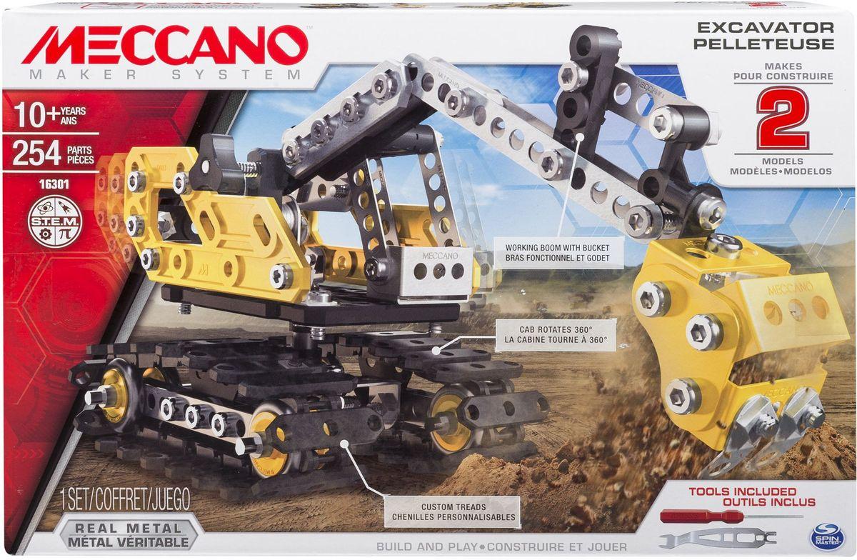 Meccano Конструктор Экскаватор 2 в 191806Конструктор Meccano Экскаватор 2 в 1 позволит вашему ребенку весело и с пользой провести время. Набор довольно большой и включает в себя 254 детали желтого, черного цвета и цвета «металлик». Помимо металлических элементов, в наборе присутствуют детали, изготовленные из пластика. Все инструменты, необходимые для сборки конструктора, входят в комплект набора. Данная модель представляет из себя набор «2 в 1», то есть из одного комплекта деталей вы сможете собрать две различные модели строительной техники. Экскаватор имеет сборные подвижные гусеницы, поворачивающуюся на 360 градусов кабину и функциональную подвижную стрелу с ковшом. Конструктор Meccano Экскаватор 2 в 1 поможет ребенку развить мелкую моторику рук, координацию движений и усидчивость.