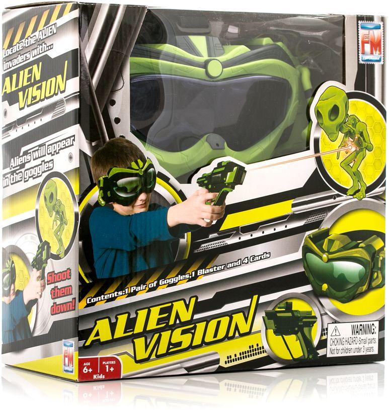Fotorama Настольная игра Alien Vision851Интерактивная игра Alien Vision Пришельцы готовят инопланетное вторжение на Землю, вы должны помешать им! В этом вам поможет маска инопланетного видения Alien Vision. Наденьте маску, синхронизируйте с бластером и на экране маски начнут появляться изображения инопланетян (их видите только вы, изображение внутри маски). Необходимо «стрелять» в инопланетян, бластер покажет, в скольких вы попали. Сумейте уничтожить главного инопланетянина и получите еще больше очков! Для работы требуются батарейки – 3 шт типа ААА для маски и 3 шт. типа ААА для бластера (в комплект не входят). Состав набора: 1 маска инопланетного видения, 1 бластер, 4 карточки, инструкция