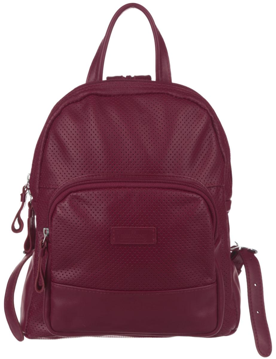 Рюкзак женский Dimanche, цвет: бордовый. 468/33468/33Стильный женский рюкзак Dimanche выполнен из натуральной кожи и оформлен перфорацией. Изделие имеет одно отделение, закрывающееся на застежку-молнию. Внутри находятся два открытых накладных кармана и карман для планшета. Снаружи, на передней стенке располагается накладной карман на застежке-молнии. На задней стенке предусмотрен прорезной карман на застежке-молнии. Рюкзак оснащен двумя лямками, регулируемой длины, которые при помощи молнии соединяются в одну, и удобной ручкой. Изделие упаковано в фирменный чехол. Стильный рюкзак Dimanche прекрасно дополнит ваш образ.