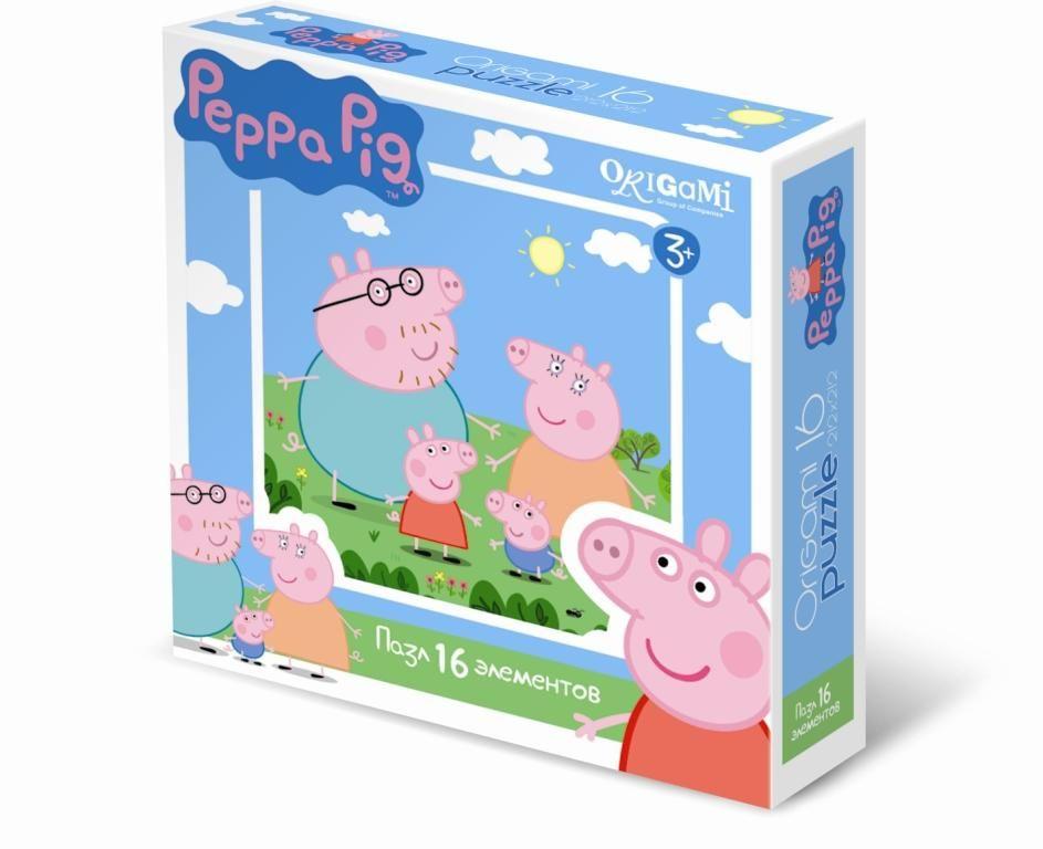 Оригами Пазл для малышей Peppa Pig 0157601576Пазл Peppa Pig на 16 деталей. Пазл за пазлом ребёнок будет узнавать о весёлых приключениях Свинки Пеппы. Составление пазла станет развивающим досугом для малыша, т.к. тренирует пространственное мышление, моторику рук, а так же подарит хорошее настроение.