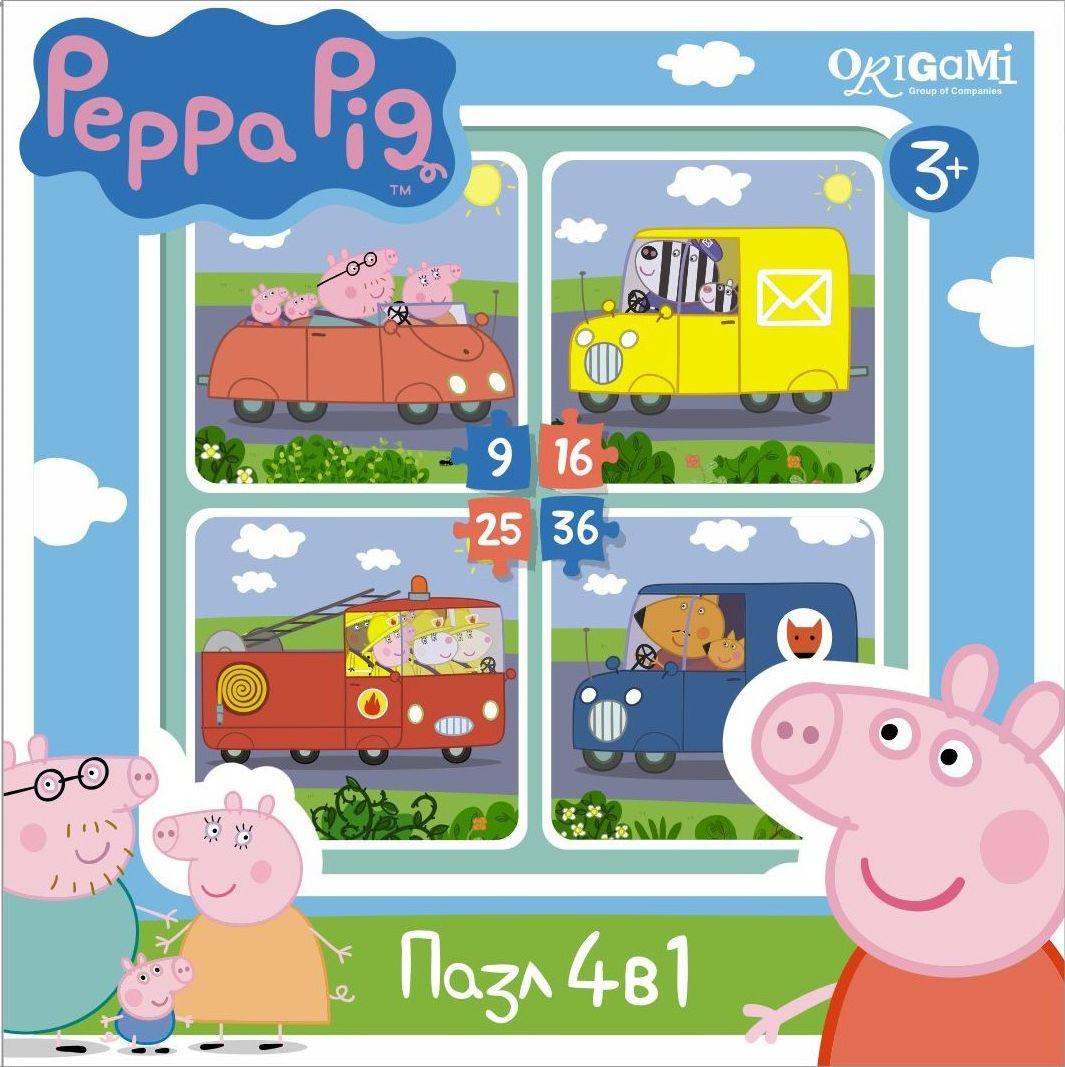 Оригами Пазл для малышей Peppa Pig 4 в 1 Транспорт01597Пазл Peppa Pig 4 в 1 (на 9, 16, 25, 36 деталей). Пазл сделан специально для маленьких детей. Начинайте сборку с пазла на 9 элементов, постепенно усложняя задачу до 25 элементов. Ребенок шаг за шагом будет тренировать пространственное мышление, моторику рук.