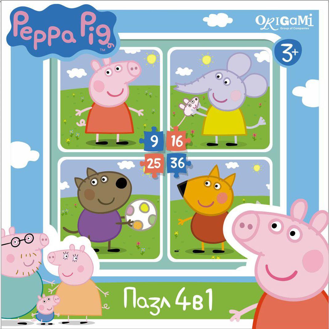 Оригами Пазл для малышей Peppa Pig 4 в 1 На прогулке01598Пазл Peppa Pig 4 в 1 (на 9, 16, 25, 36 деталей). Пазл сделан специально для маленьких детей. Начинайте сборку с пазла на 9 элементов, постепенно усложняя задачу до 25 элементов. Ребенок шаг за шагом будет тренировать пространственное мышление, моторику рук.