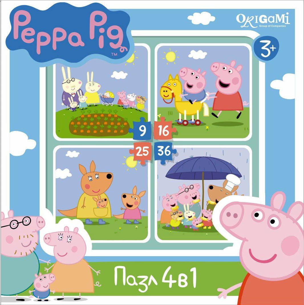 Оригами Пазл для малышей Peppa Pig 4 в 1 На отдыхе01599Пазл Peppa Pig 4 в 1 (на 9, 16, 25, 36 деталей). Пазл сделан специально для маленьких детей. Начинайте сборку с пазла на 9 элементов, постепенно усложняя задачу до 25 элементов. Ребенок шаг за шагом будет тренировать пространственное мышление, моторику рук.