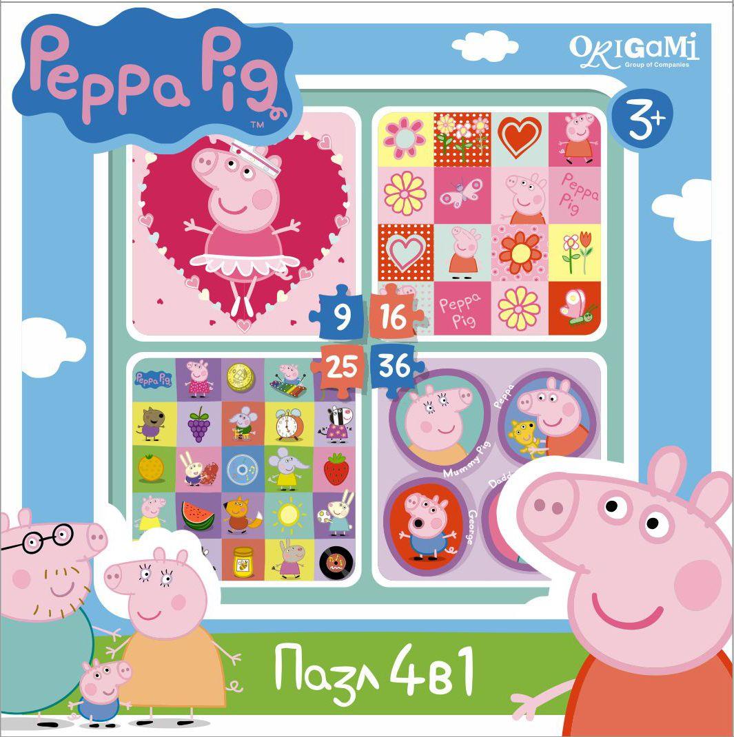 Оригами Пазл для малышей Peppa Pig 4 в 1 Герои и предметы01600Пазл Peppa Pig 4 в 1 (на 9, 16, 25, 36 деталей). Пазл сделан специально для маленьких детей. Начинайте сборку с пазла на 9 элементов, постепенно усложняя задачу до 25 элементов. Ребенок шаг за шагом будет тренировать пространственное мышление, моторику рук.