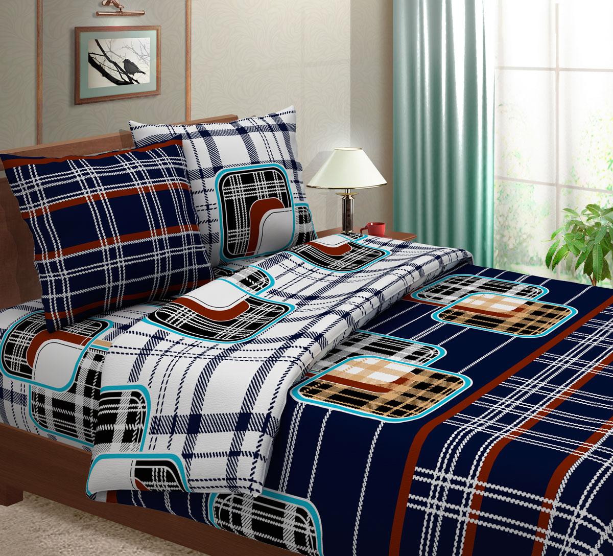 Комплект белья Seta Кашемир, семейный, наволочки 50x70, цвет: синий01524306