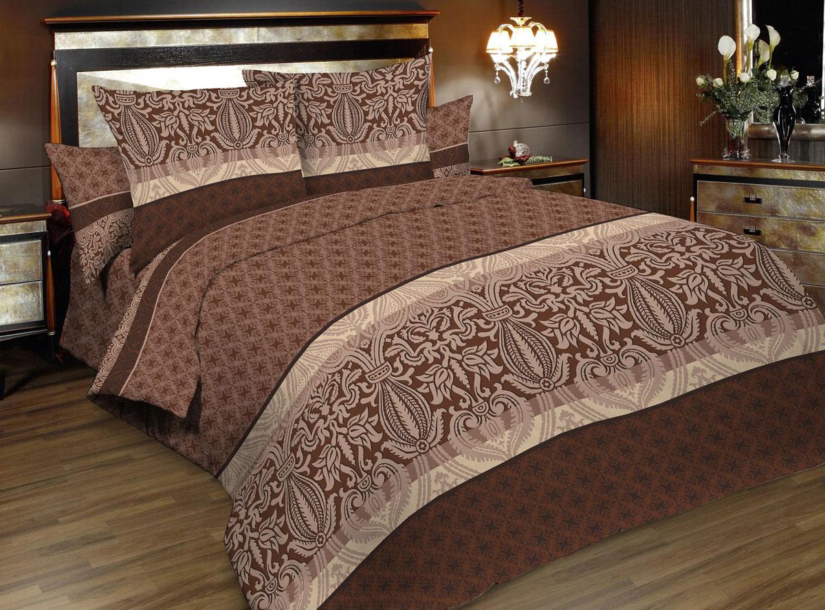 Комплект белья Seta Korin, 1,5-спальный, наволочки 50x70, цвет: коричневый015812239