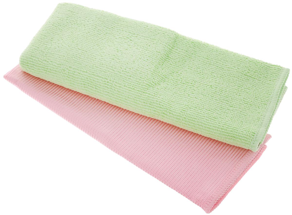 Салфетка Чистюля, цвет: розовый, салатовый, 35 х 35 см, 2 штМФ011Салфетка Чистюля выполнена из микрофибры (полиэстер и полиамид) и поролона. Изделие отлично впитывает влагу, не оставляет разводов, быстро сохнет, сохраняет яркость цвета и не теряет форму даже после многократных стирок. Салфетка подходит для мытья окон и зеркал. Протертая поверхность становится идеально чистой, сухой и блестящей. Такая салфетка очень практична и неприхотлива в уходе. Размер салфетки: 35 х 35 см.