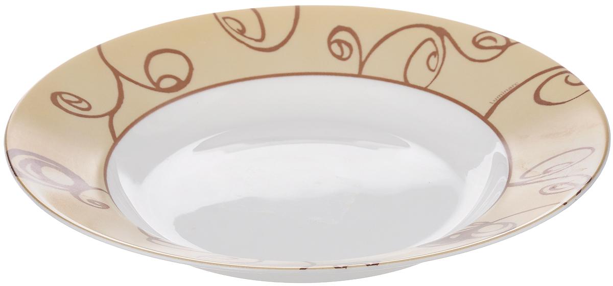 Тарелка Luminarc BRITTANY MOKA, диаметр 22 смJ2539Тарелка Luminarc BRITTANY MOKA, изготовленная из секла, имеет изысканный внешний вид. Спокойный дизайн тарелки придется по вкусу и ценителям классики, и тем, кто предпочитает утонченность. Тарелка Luminarc BRITTANY MOKA идеально подойдет для сервировки стола и станет отличным подарком к любому празднику. Тарелка устойчива к резкому перепаду температур. Можно мыть в посудомоечной машине Можно использовать в СВЧ-печи. Диаметр: 22 см.