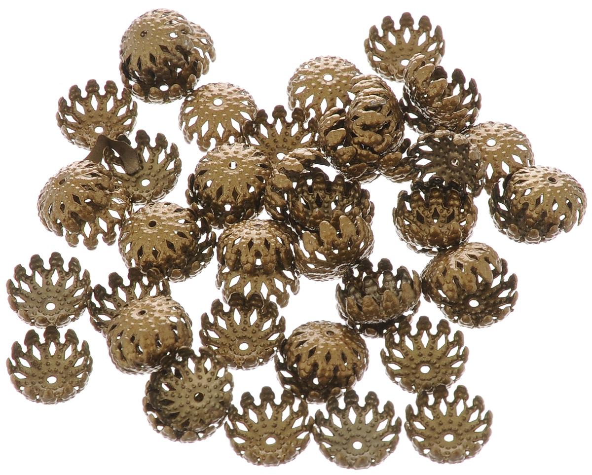 Шапочка для бусин Астра, цвет: латунь, диаметр 8 мм, 50 шт. 77057107705710_ латуньНабор Астра, изготовленный из металла, состоит из 50 шапочек для бусин. Набор позволит вам своими руками создать оригинальные ожерелья, бусы или браслеты. Шапочки обрамляют бусины и придают законченный красивый вид изделию. Их можно крепить как с одной, так и с обеих сторон бусины. Это прекрасная фурнитура для создания бижутерии. Изготовление украшений - занимательное хобби и реализация творческих способностей рукодельницы, это возможность создания неповторимого индивидуального подарка.