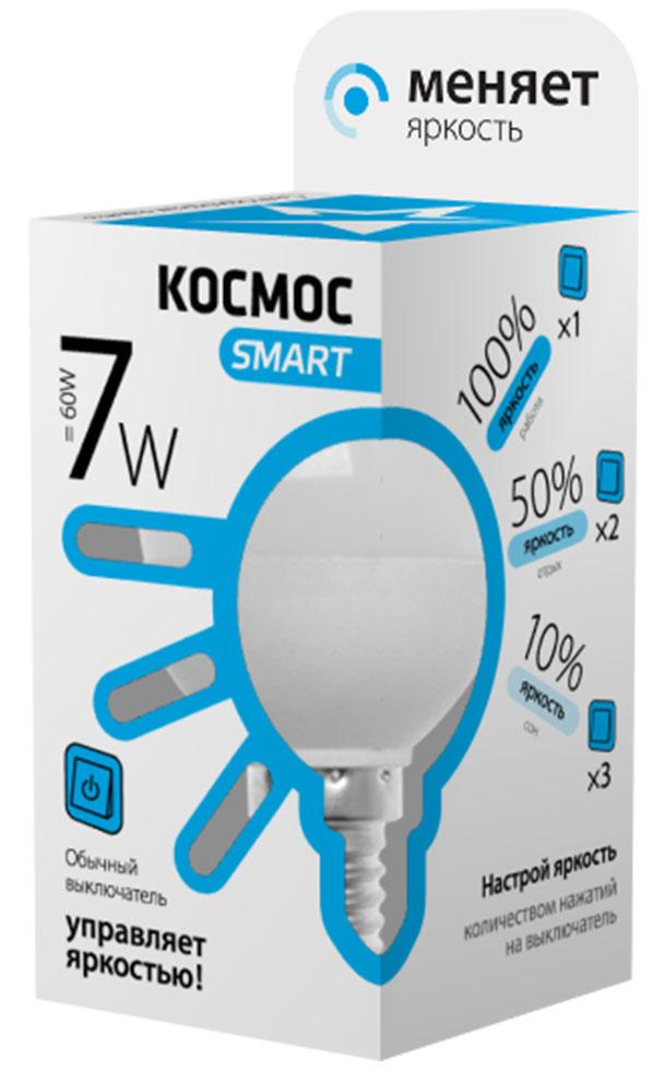 Лампа светодиодная Космос Smart, 3 уровня яркости, регулируется выключателем, шар, 220V, белый свет, цоколь Е14, 7WLksmLEDSD7wGL45E1445Тип: Умная лампа Серия: КОСМОС SMART Технология: светодиодная LED Назначение лампы: общего назначения с регулировкой яркости Вид/форма : шар ( GL45 /G ) / шарообразная Модель: LksmLEDSD7wGL45E1445 Эквивалентная мощность лампы накаливания, Вт : 60 Тип цоколя: Е14 (миньон) Свет: белый Температура света, К: 4500 Мощность, Вт: 7 Световой поток, Лм: 590 Угол рассеивания, град.: 270 Светодиоды: LED SMD 2835 Чип: Epistar Рабочий ток, А: 0,05 Номинальное напряжение, Вт.: 220 - 240 Номинальная частота, Гц: 50/60 Индекс цветопередачи: Ra>80 Температура использования от -40° до +50° Срок службы, час.: до 30 000 Гарантия: 1 год Специальные возможности/особенности: Умная лампа КОСМОС SMART - уникальная светодиодная технология в освещении от КОСМОС. Лампа имеет 3 уровня яркости: 100%, 50% и 10% и интенсивность освещения меняется обычным выключателем без использования светорегулятора или диммера, позволяя создавать выбранную атмосферу комфортного освещения просто включив и выключив свет. Для...