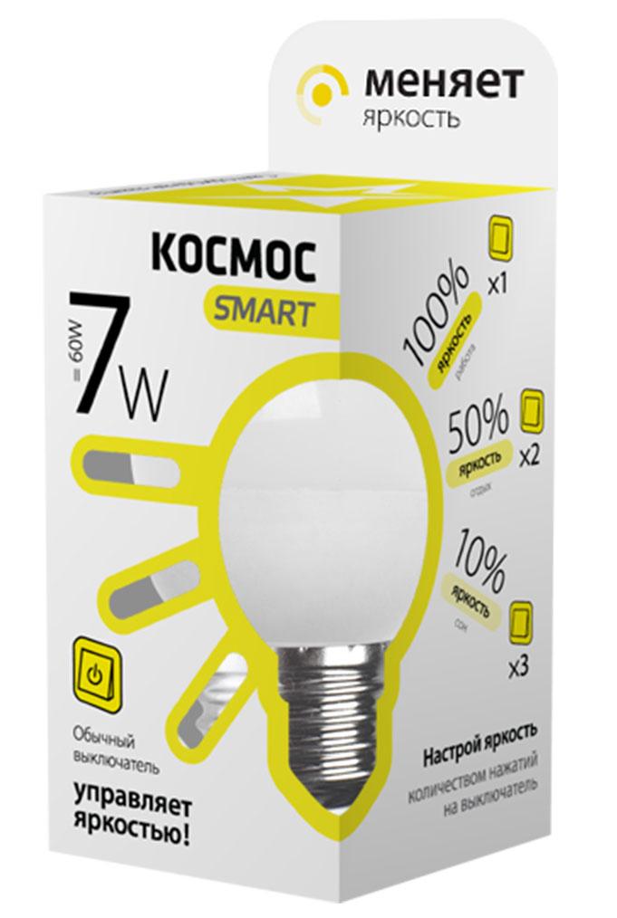 Лампа светодиодная Космос Smart, 3 уровня яркости, регулируется выключателем, шар, 220V, теплый свет, цоколь Е27, 7WLksmLEDSD7wGL45E2730Тип: Умная лампа Серия: КОСМОС SMART Технология: светодиодная LED Назначение лампы: общего назначения с регулировкой яркости Вид/форма : шар ( GL45 /G ) / шарообразная Модель: LksmLEDSD7wGL45E2730 Эквивалентная мощность лампы накаливания, Вт : 60 Тип цоколя: Е27 (стандарт) Свет: теплый Температура света, К: 3000 Мощность, Вт: 7 Световой поток, Лм: 560 Угол рассеивания, град.: 270 Светодиоды: LED SMD 2835 Чип: Epistar Рабочий ток, А: 0,05 Номинальное напряжение, Вт.: 220 - 240 Номинальная частота, Гц: 50/60 Индекс цветопередачи: Ra>80 Температура использования от -40° до +50° Срок службы, час.: до 30 000 Гарантия: 1 год Специальные возможности/особенности: Умная лампа КОСМОС SMART - уникальная светодиодная технология в освещении от КОСМОС. Лампа имеет 3 уровня яркости: 100%, 50% и 10% и интенсивность освещения меняется обычным выключателем без использования светорегулятора или диммера, позволяя создавать выбранную атмосферу комфортного освещения просто включив и выключив свет. Для...