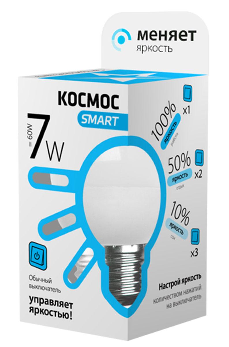 Лампа светодиодная Космос Smart, 3 уровня яркости, регулируется выключателем, шар, 220V, белый свет, цоколь Е27, 7WLksmLEDSD7wGL45E2745Тип: Умная лампа Серия: КОСМОС SMART Технология: светодиодная LED Назначение лампы: общего назначения с регулировкой яркости Вид/форма : шар ( GL45 /G ) / шарообразная Модель: LksmLEDSD7wGL45E2745 Эквивалентная мощность лампы накаливания, Вт : 60 Тип цоколя: Е27 (стандарт) Свет: белый Температура света, К: 4500 Мощность, Вт: 7 Световой поток, Лм: 590 Угол рассеивания, град.: 270 Светодиоды: LED SMD 2835 Чип: Epistar Рабочий ток, А: 0,05 Номинальное напряжение, Вт.: 220 - 240 Номинальная частота, Гц: 50/60 Индекс цветопередачи: Ra>80 Температура использования от -40° до +50° Срок службы, час.: до 30 000 Гарантия: 1 год Специальные возможности/особенности: Умная лампа КОСМОС SMART - уникальная светодиодная технология в освещении от КОСМОС. Лампа имеет 3 уровня яркости: 100%, 50% и 10% и интенсивность освещения меняется обычным выключателем без использования светорегулятора или диммера, позволяя создавать выбранную атмосферу комфортного освещения просто включив и выключив свет. Для...