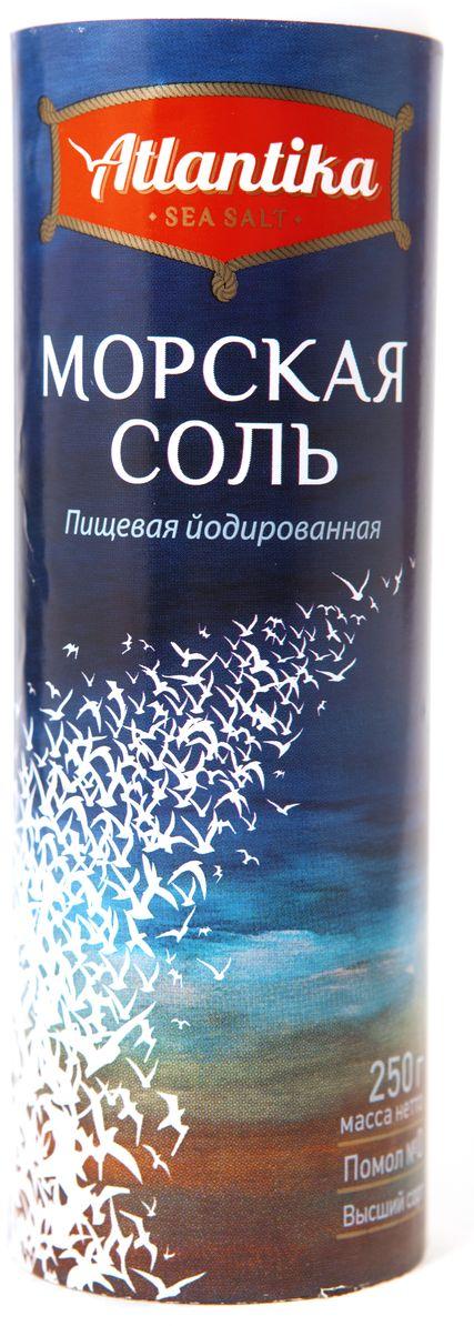 Атлантика соль морская мелкая йодированная в солонке, 250 г