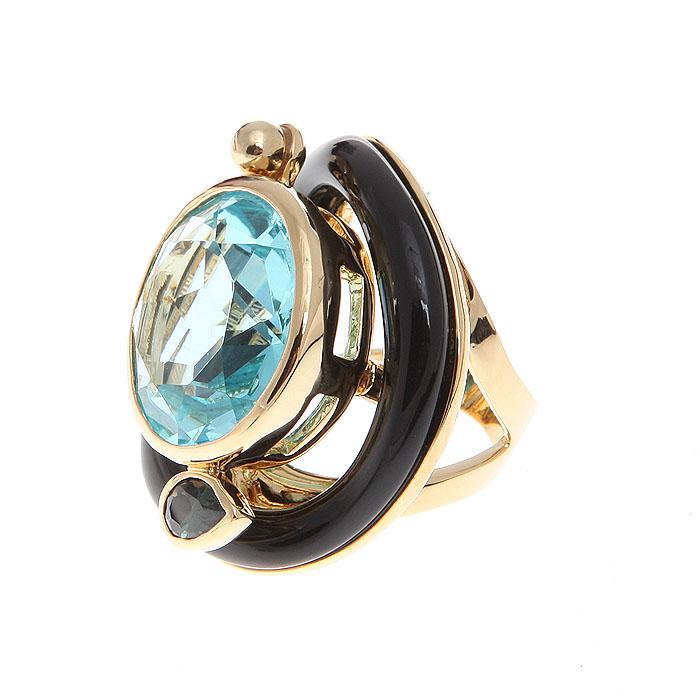 """Кольцо коктейльное """"Голубой лед"""" от Arrina. Крупный австрийский кристалл голубого цвета, ювелирный пластик, бижутерный сплав золотого"""