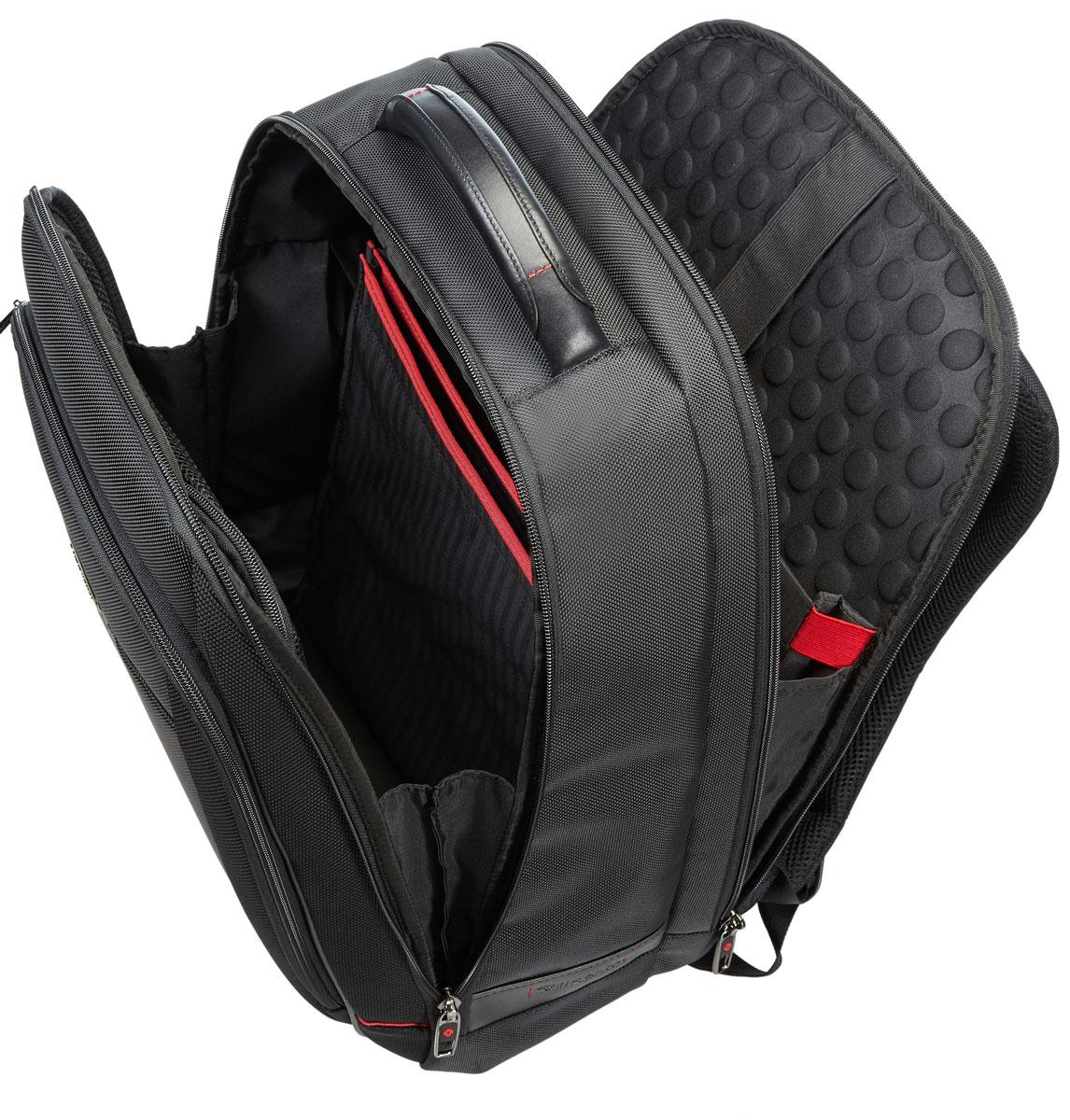 Рюкзак для ноутбука Samsonite, цвет: черный, 26,5 л, 38 х 19 х 48 см35V*09007Армированный нейлон из натуральной кожи наппа,специальные смягчённые отделения для ноутбука и планшета