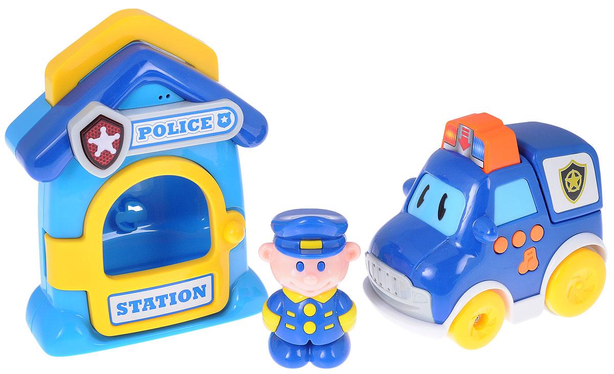 Navystar Игровой набор Полиция69038-A-PИгровой набор Navystar Полиция привлечет внимание вашего малыша и не оставит его равнодушным. В набор входит полицейская станция, машинка и фигурка полицейского. Дверь станции открывается, внутрь можно поставить фигурку. При нажатии кнопки со звездой на вывеске станции звучит мелодия и мигает огонек. Полицейская машина имеет несколько кнопок, при нажатии на которые воспроизводятся звуки двигателя, клаксона, сирены, играют различные мелодии. Все это сопровождается световыми эффектами. Если нажать на большую кнопку-мигалку на крыше машинки, она быстро поедет вперед. Игровой набор Navystar Полиция поможет малышу развить цветовое и звуковое восприятие, координацию движений и мышление. Для работы игрушек необходимы 6 батареек типа AG13 (LR44) напряжением 1,5V (по 3 на машинку и станцию) (товар комплектуется демонстрационными).