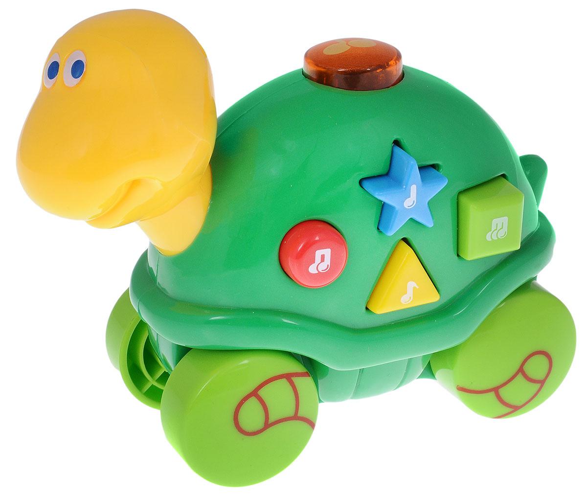 Navystar Музыкальная игрушка-каталка Черепашка65039-E-TМузыкальная игрушка-каталка Navystar Черепашка привлечет внимание вашего малыша и не оставит его равнодушным. Игрушка снабжена четырьмя колесиками со свободным ходом. На панцире черепашки расположены разноцветные кнопочки, при нажатии которых воспроизводятся разные мелодии и мигает огонек в кнопке на вершине панциря. Игрушка воспроизводит 40 различных мелодий. Музыкальная игрушка-каталка Navystar Черепашка поможет малышу развить цветовое и звуковое восприятие, координацию движений и мышление. Для работы игрушки необходимы 3 батарейки типа AG13 (LR44) напряжением 1,5V (товар комплектуется демонстрационными).