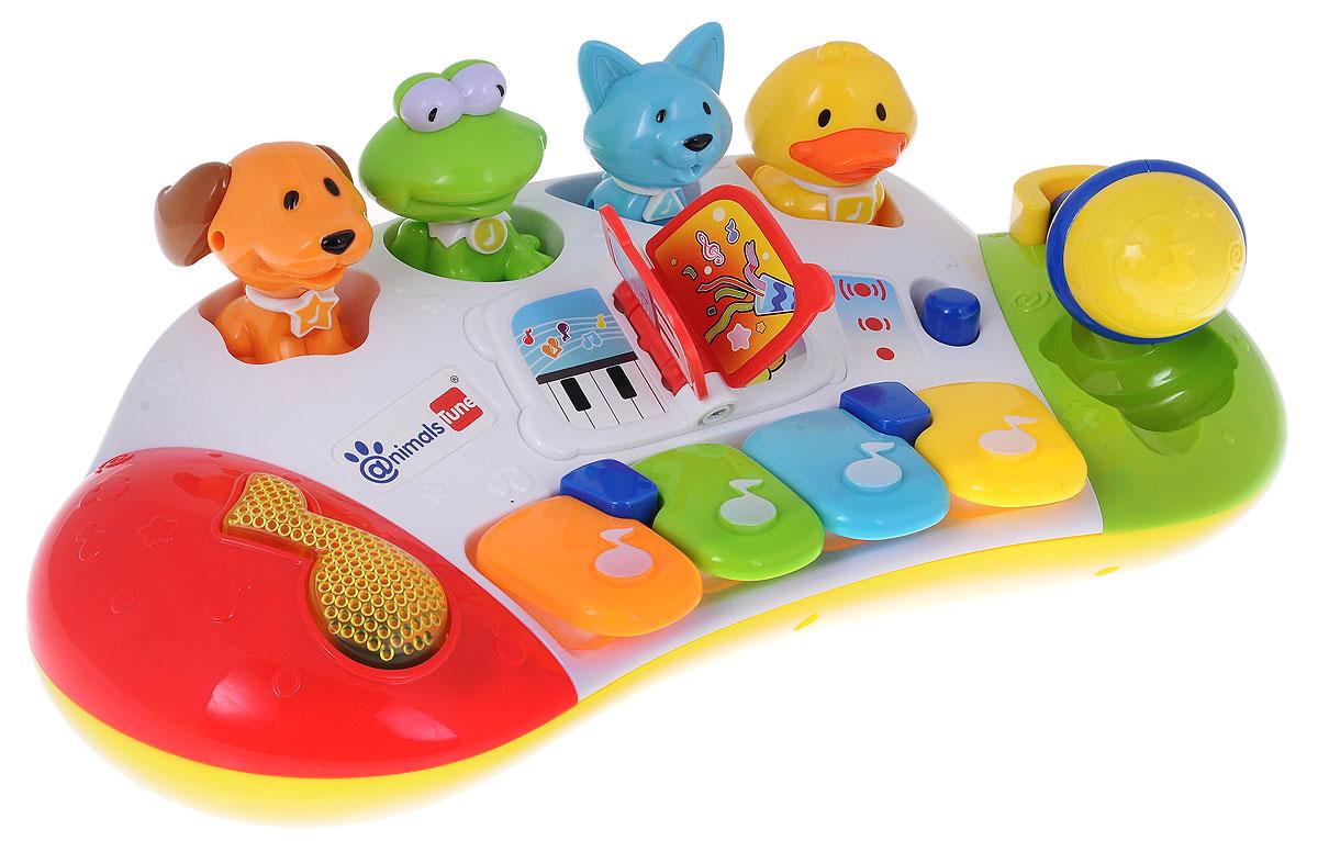 Navystar Синтезатор с животными69029-ESЯркая музыкальная игрушка Синтезатор с животными непременно понравится вашему ребенку и не позволит ему скучать. Синтезатор выполнен из безопасного пластика и оснащен световыми и звуковыми эффектами. На панели игрушки расположены 4 разноцветные клавиши, воспроизводящие ноты и музыкальная кнопка-нота, при нажатии на которую ребенок сможет прослушать различные мелодии. С клавишами соединены отверстия сортера, куда вставляются специальные фигурки животных. При нажатии на клавишу не только раздается звук, но и поднимается вверх одно из животных. В центре синтезатора расположена маленькая пластиковая книжка, при переворачивании её страниц раздается веселый звук. С правой стороны игровой панели поместился синий микрофон. Его можно поднять или опустить, эти действия происходят с мелодичным скрипом. Синтезатор позволит ребенку почувствовать себя настоящим музыкантом, ведь с помощью клавиш он сможет сыграть свою первую мелодию или попытаться повторить только что услышанную...
