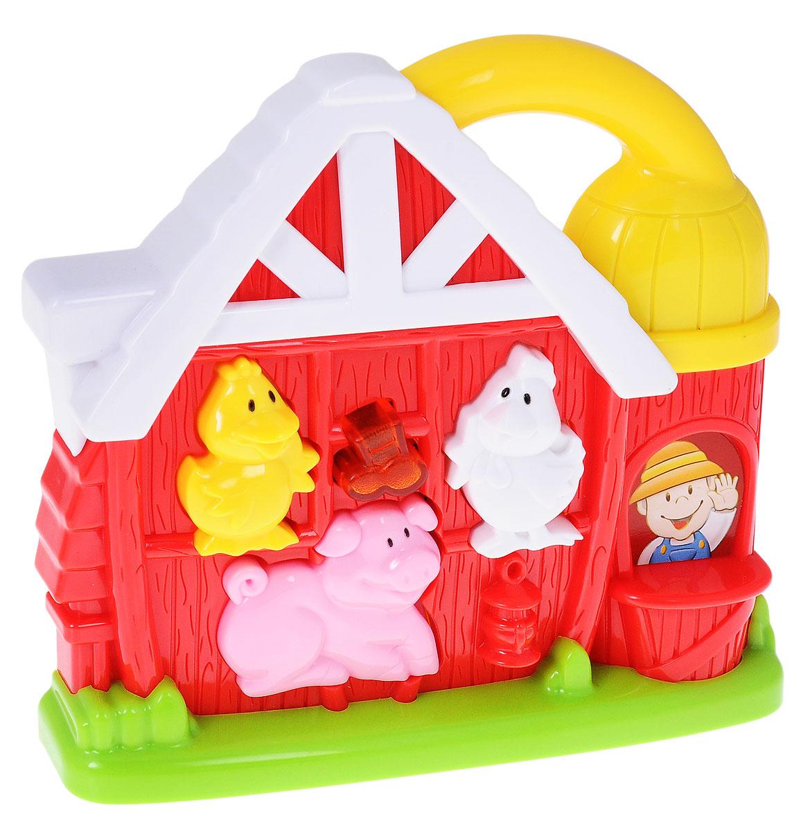 Navystar Развивающая игрушка Музыкальная ферма68085-E-FЯркая развивающая игрушка Музыкальная ферма обязательно порадует малыша приятными мелодиями и забавными звуками. Игрушка выполнена в виде домика с цветными фигурками-кнопками. Если нажать на фигурку утки, курочки или поросенка, то игрушка воспроизведет голоса этих животных. В центре домика имеется музыкальная кнопка, нажатие на которую включает веселые мелодии. Игрушка может воспроизводить 16 разных мелодий. Все звуки сопровождаются ярким миганием музыкальной кнопки. Игрушка оборудована специальной ручкой в крыше фермы для удобной переноски. Игрушка способствует развитию мелкой моторики, слухового и зрительного восприятия. Для работы требуются 2 батарейки LR 44 (комплектуется демонстрационными).