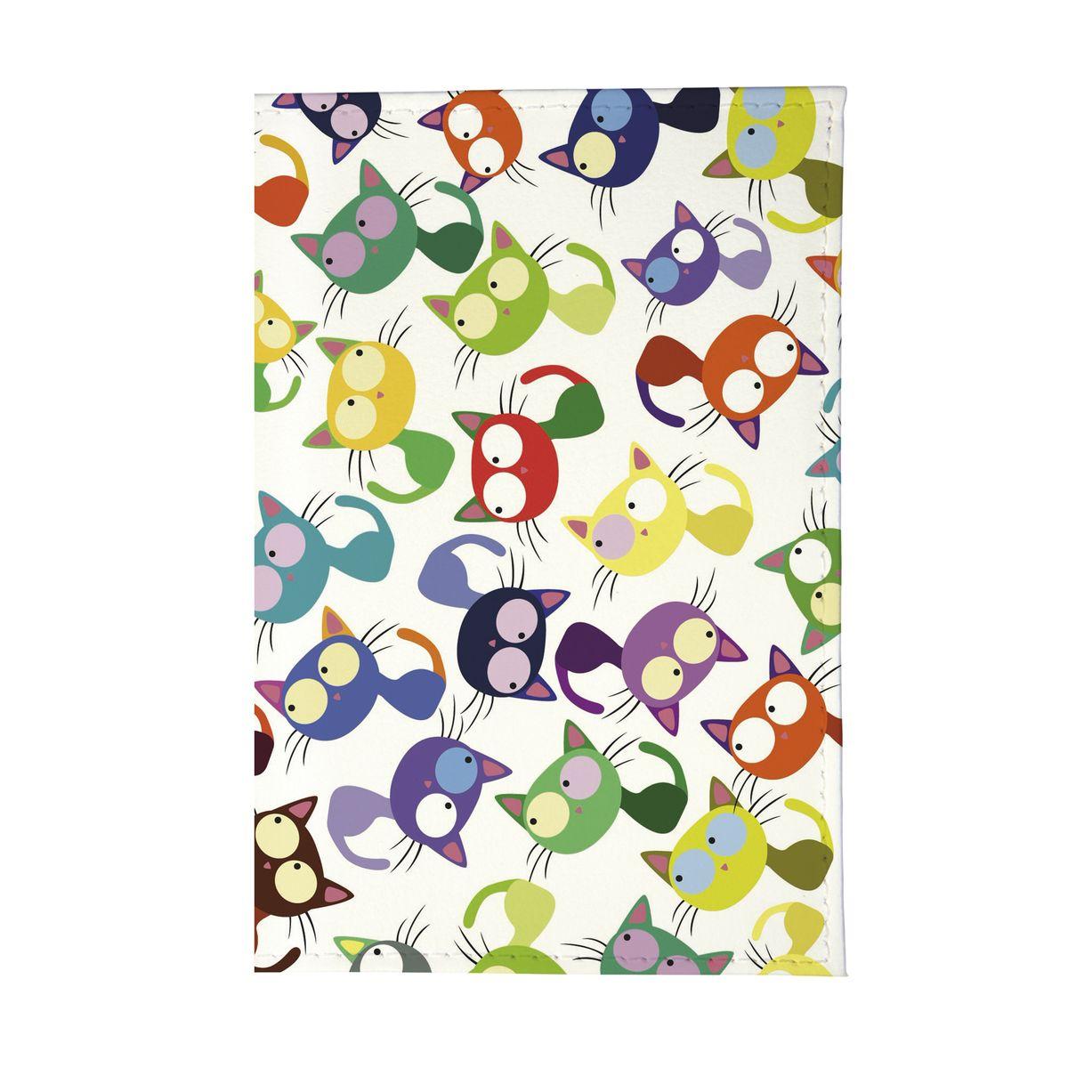 Обложка для автодокументов Цветные кошки мешанина Арт. AUTOZAM204AUTOZAM204