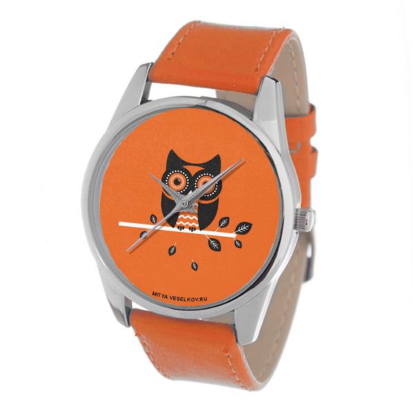 Часы Mitya Veselkov Сова на оранжевом (оранжевый) Color-121Color-121