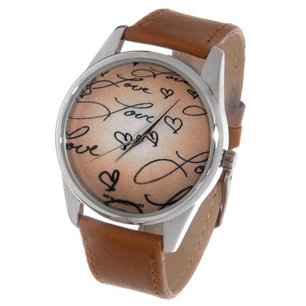 Часы Mitya Veselkov Love на бежевом ( светло-коричневый) Арт. Color-14Color-14