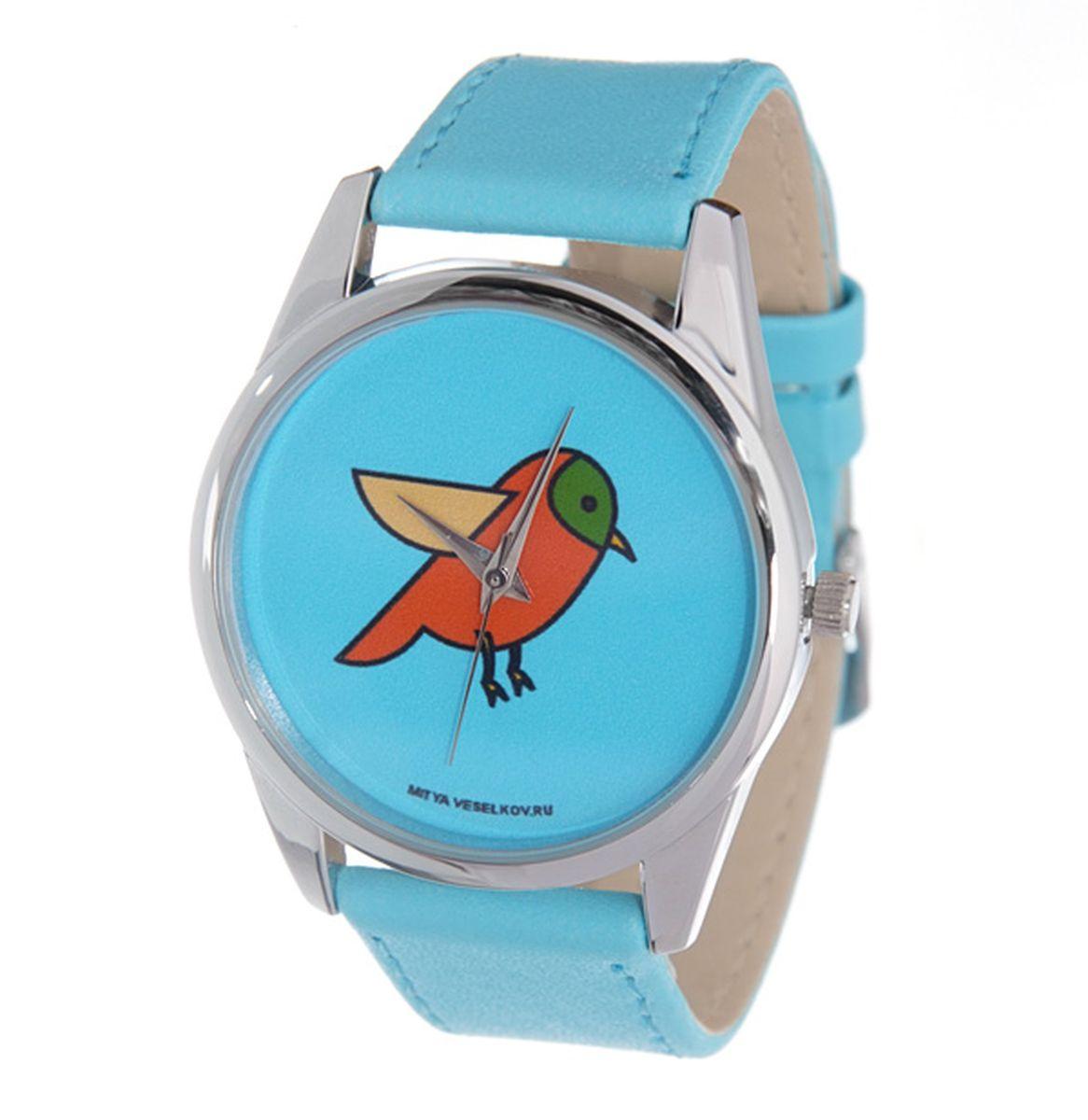 Часы Mitya Veselkov Птичка на голубом (голубой) Арт. Color-50Color-50