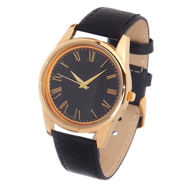 Часы Mitya Veselkov Куранты золотые на черном Арт. Gold-34Gold-34