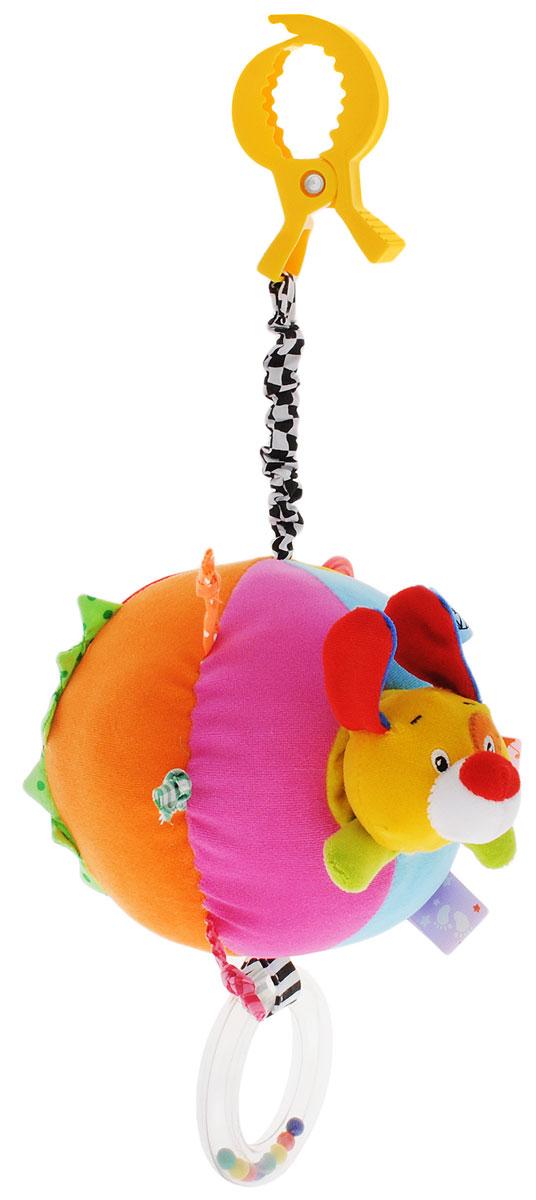 Жирафики Игрушка-подвеска Собачка93850Игрушка-подвеска Жирафики Собачка - настоящий тренажер для развития мелкой моторики и координации движений. Разноцветные колечки, завязочки и ленточки тренируют пальчики, к подвеске прикреплена погремушка. Внутри разноцветного мячика прячется ушастая собачка, если потянуть голову собачки, то мяч начнет вибрировать и издавать звуки лая собаки. С помощью пластиковой прищепки игрушка может легко крепиться к кроватке или коляске. Играя, малыш развивает мелкую моторику рук, слух и тактильные ощущения. Изготовлена игрушка из высококачественных и безопасных материалов, поэтому подойдет для игры самых маленьких.