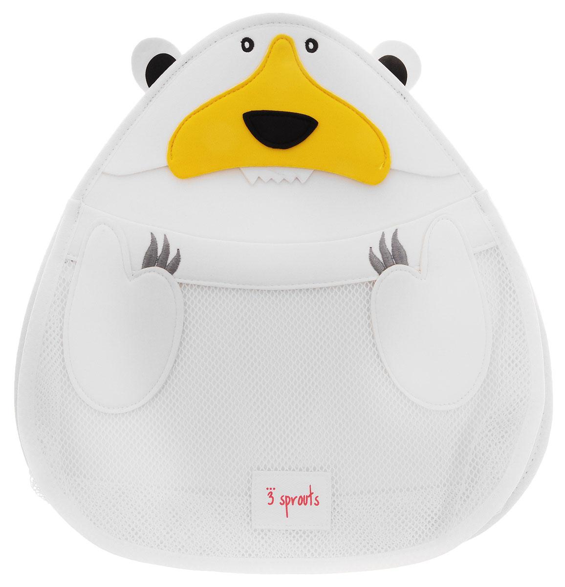 3 Sprouts Органайзер для ванной Белый мишка00012Органайзер для ванной 3 Sprouts Белый мишка идеально подойдет для хранения банных принадлежностей вашего малыша. Он изготовлен из материала, используемого для гидрокостюмов, так что все игрушки и банные принадлежности будут храниться в сухости, а также защищены от плесени. Эластичный рот косметички превращает поиск той самой игрушки в настоящую охоту! Крепится изделие на присоску.