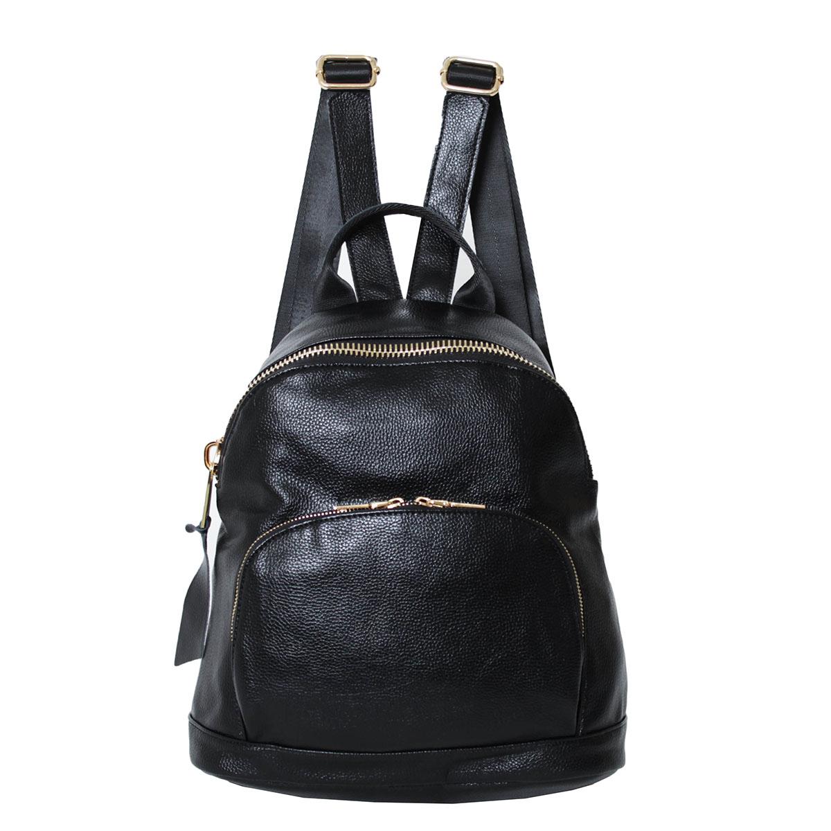 Рюкзак женский Flioraj, цвет: черный. 0005212700052127Закрывается на молнию. Внутри одно отделение, два кармана на молнии, три открытых кармана. Снаружи два кармана на молнии. Высота ручки - 8 см.